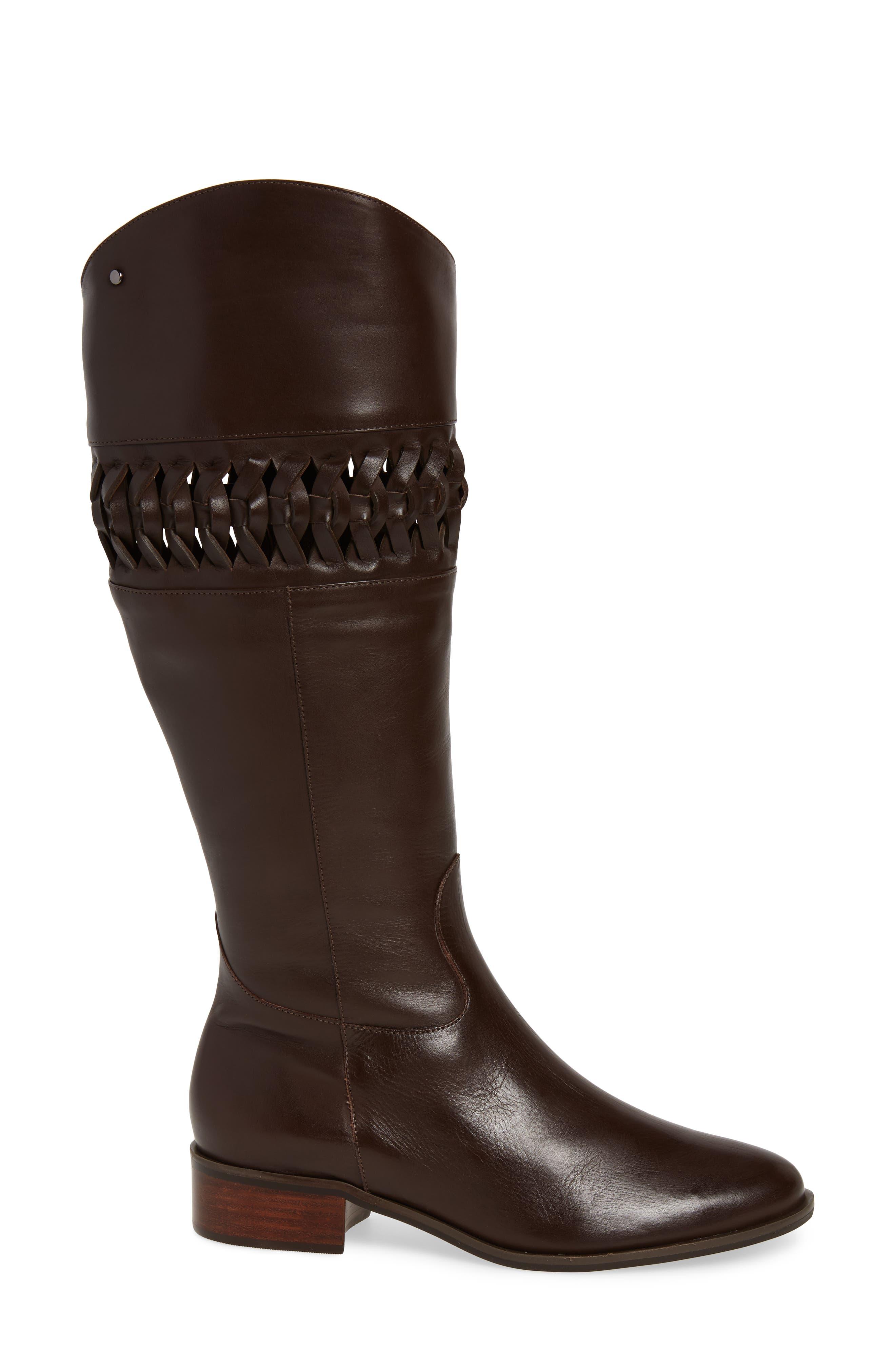 Zezette Woven Boot,                             Alternate thumbnail 3, color,                             Cafe Leather