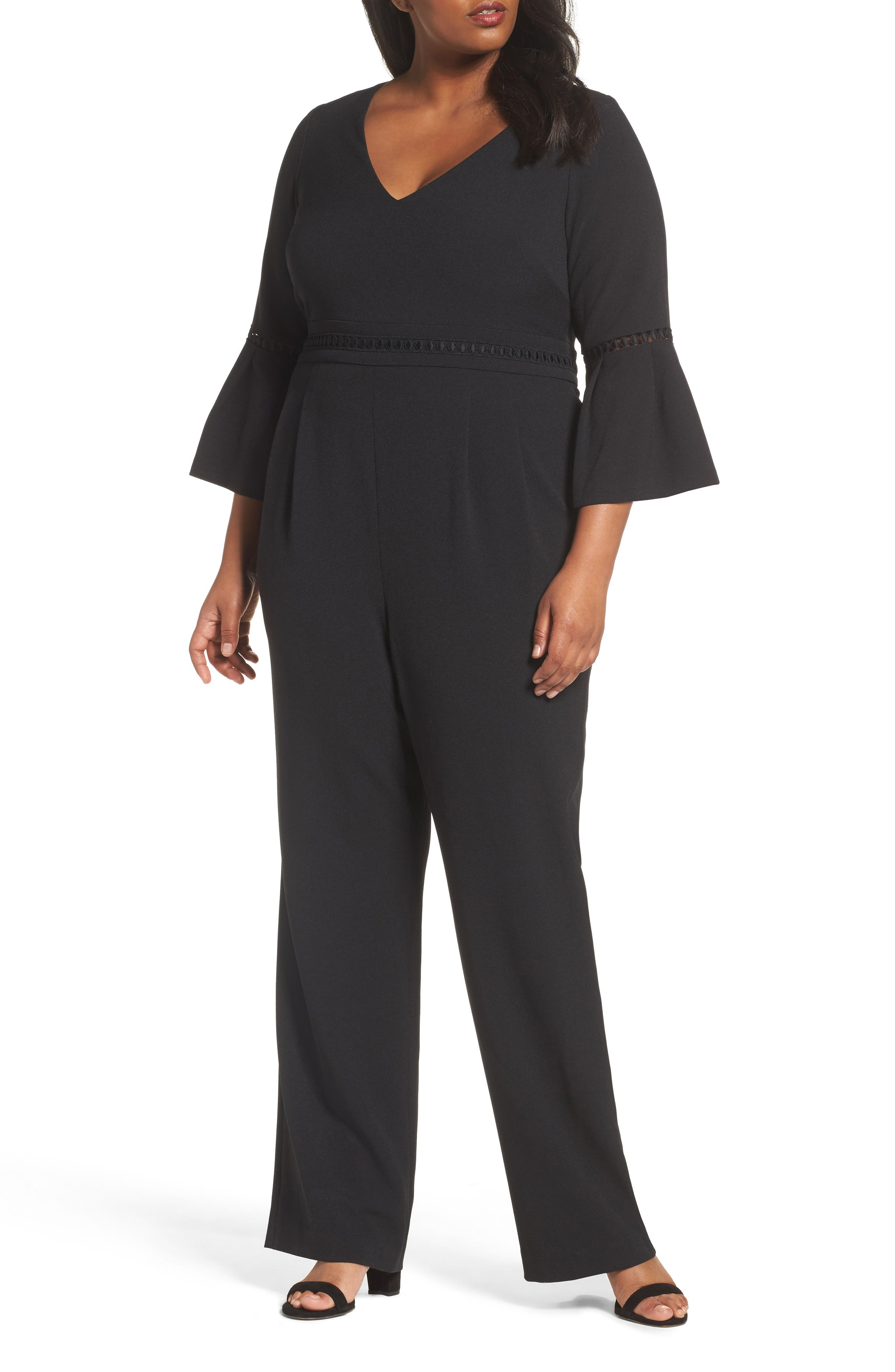 Bell Sleeve Jumpsuit,                             Main thumbnail 1, color,                             Black