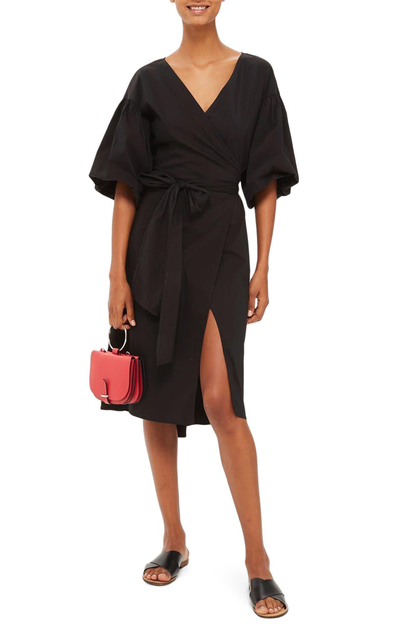 Balloon Sleeve Wrap Dress,                         Main,                         color, Black