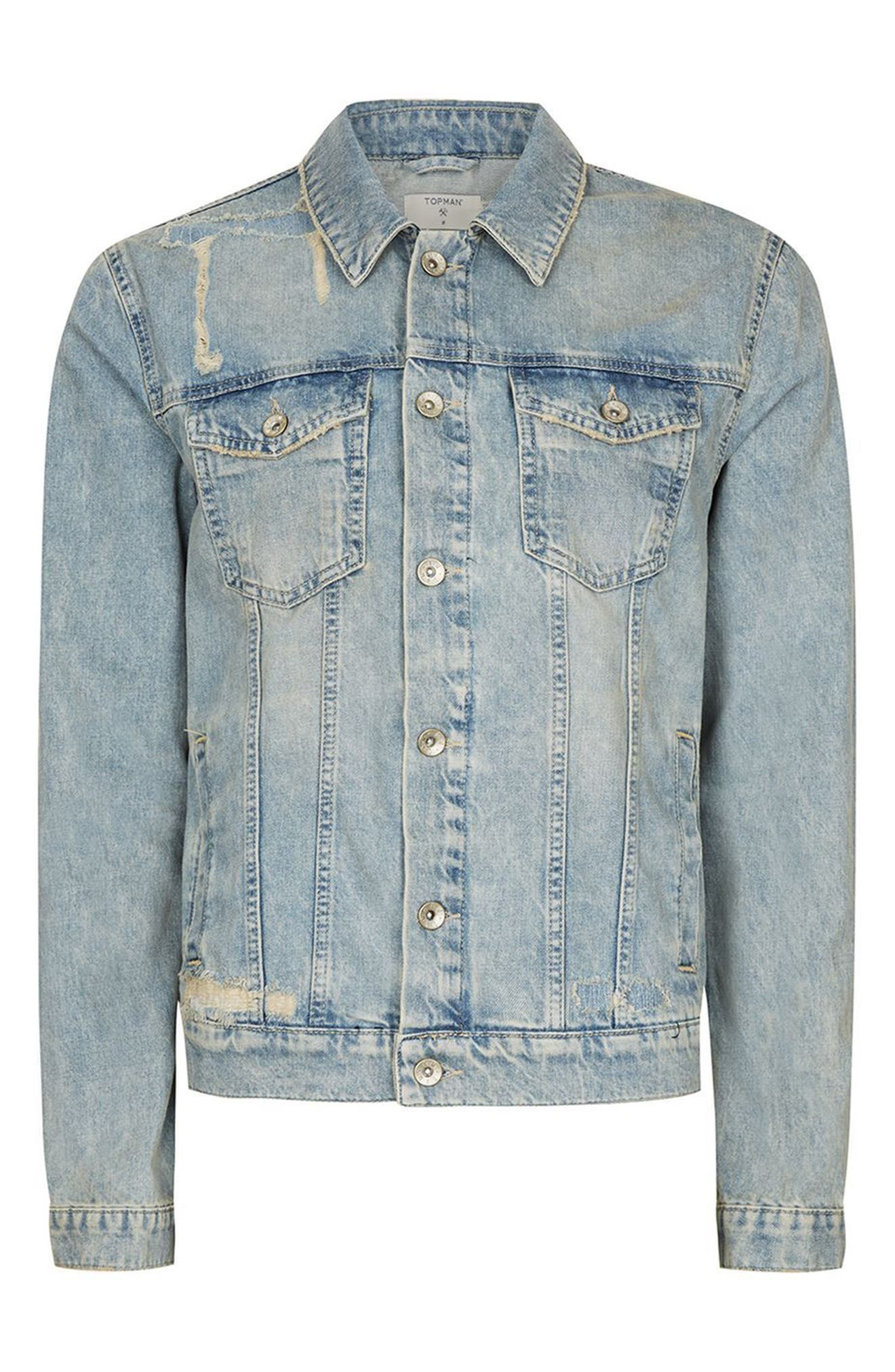 Alternate Image 4  - Topman Distressed Denim Western Jacket