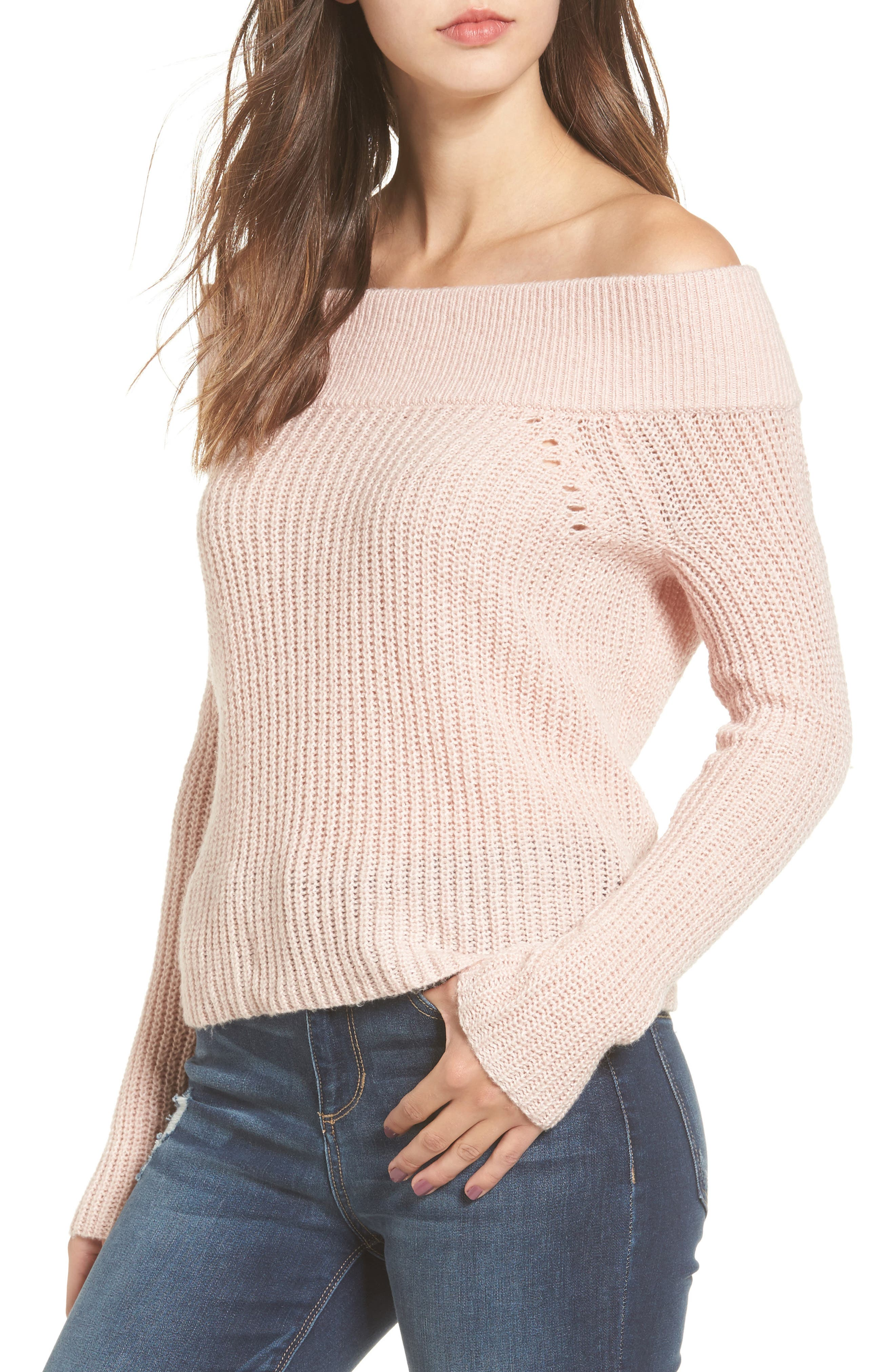 Lofty Off the Shoulder Pullover,                             Main thumbnail 1, color,                             Pink Smoke