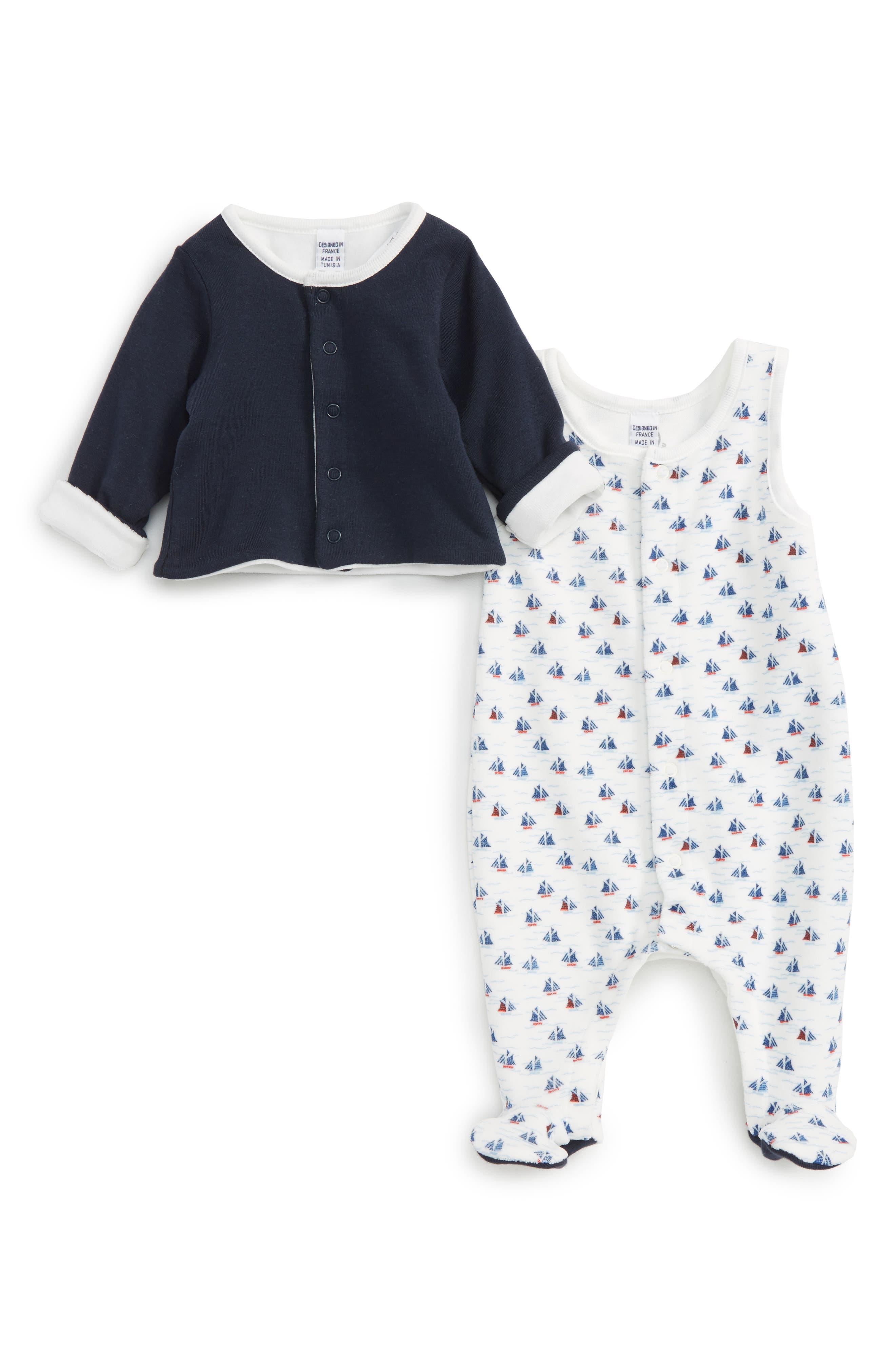 Alternate Image 1 Selected - Petit Bateau Footie & Jacket Set (Baby Boys)