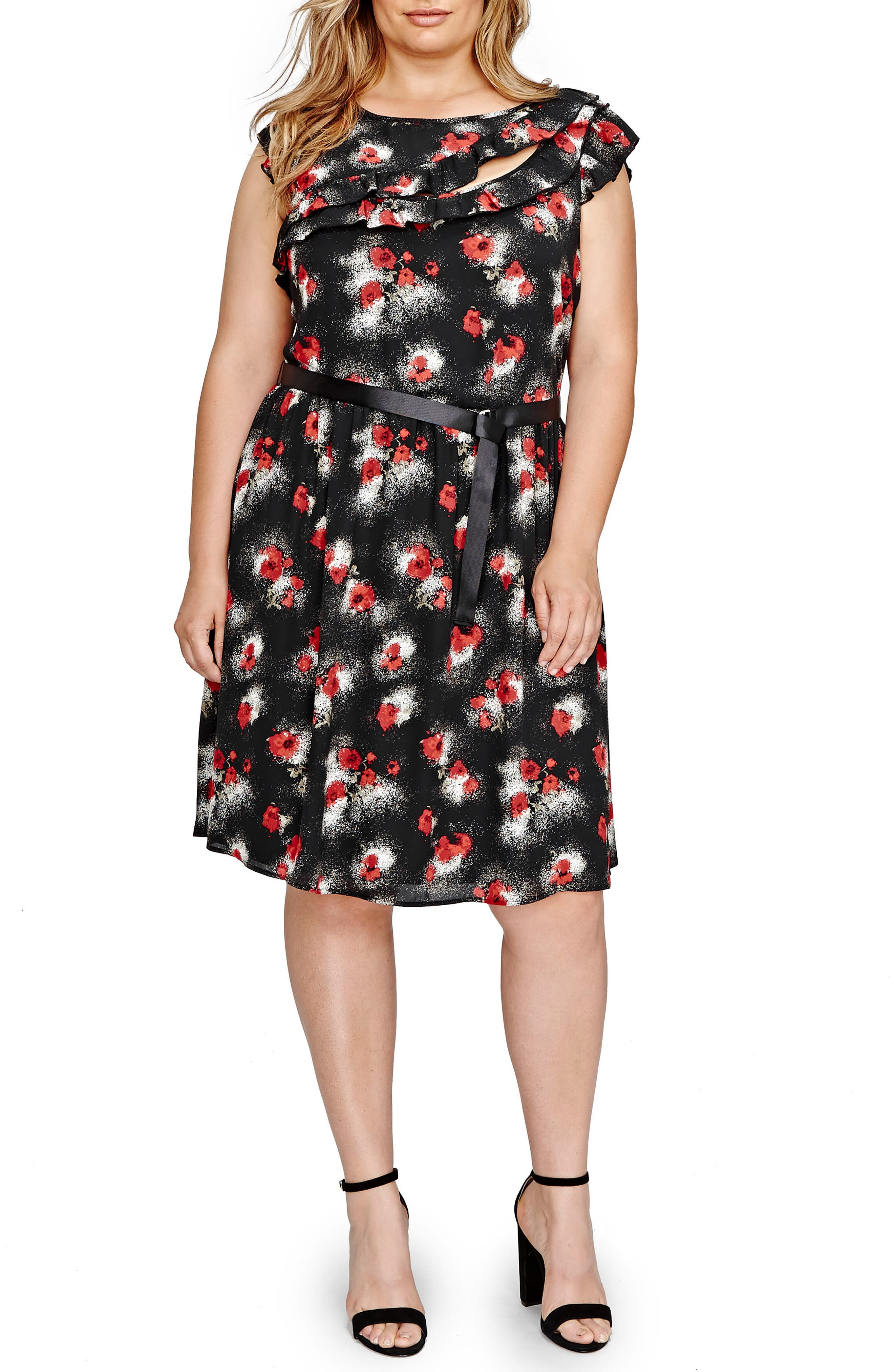 ADDITION ELLE LOVE AND LEGEND Floral Print Ruffled Fit & Flare Dress (Plus Size)