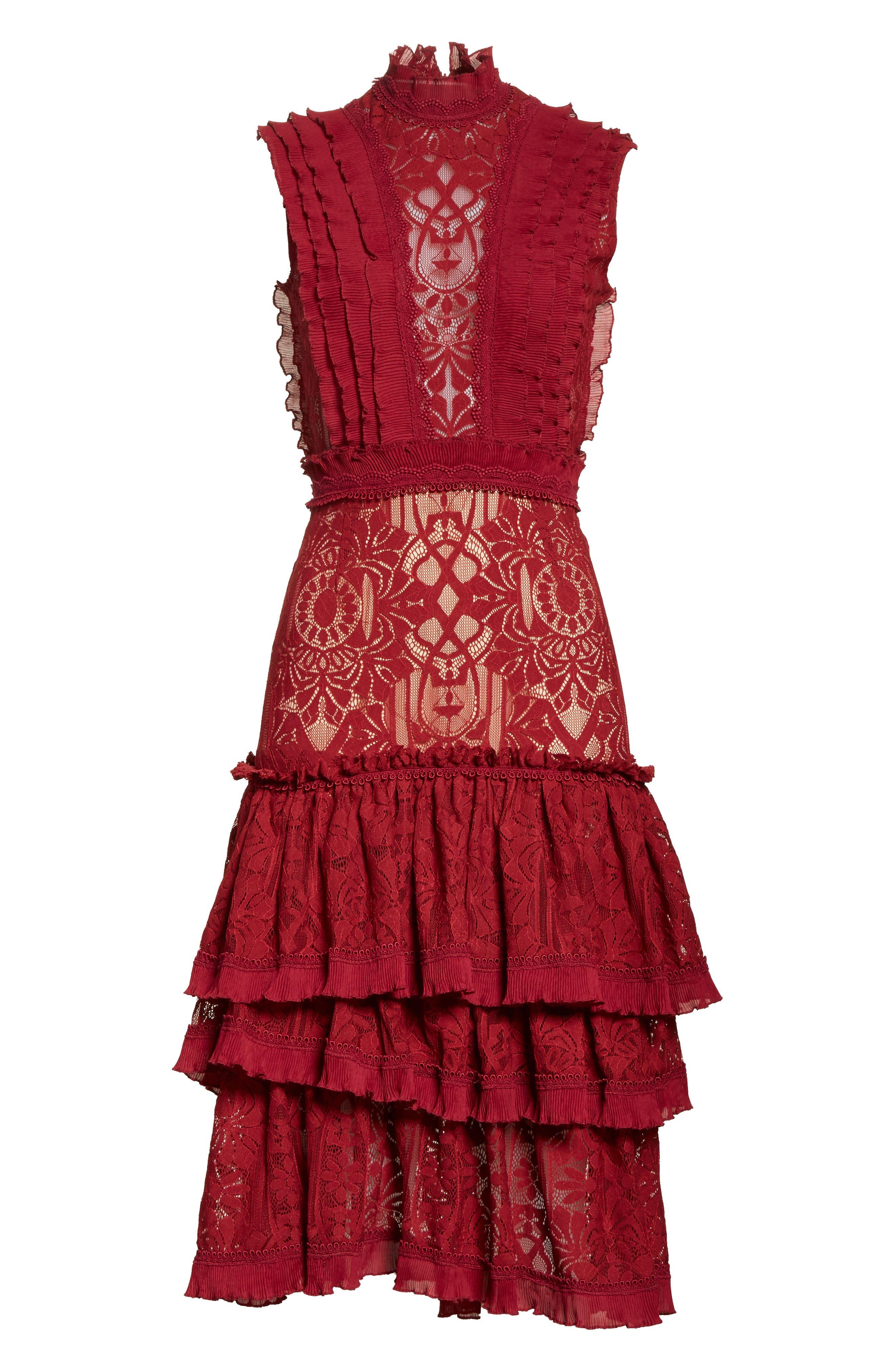 Tower Mesh Lace Ruffled Dress,                             Alternate thumbnail 6, color,                             Cabernet