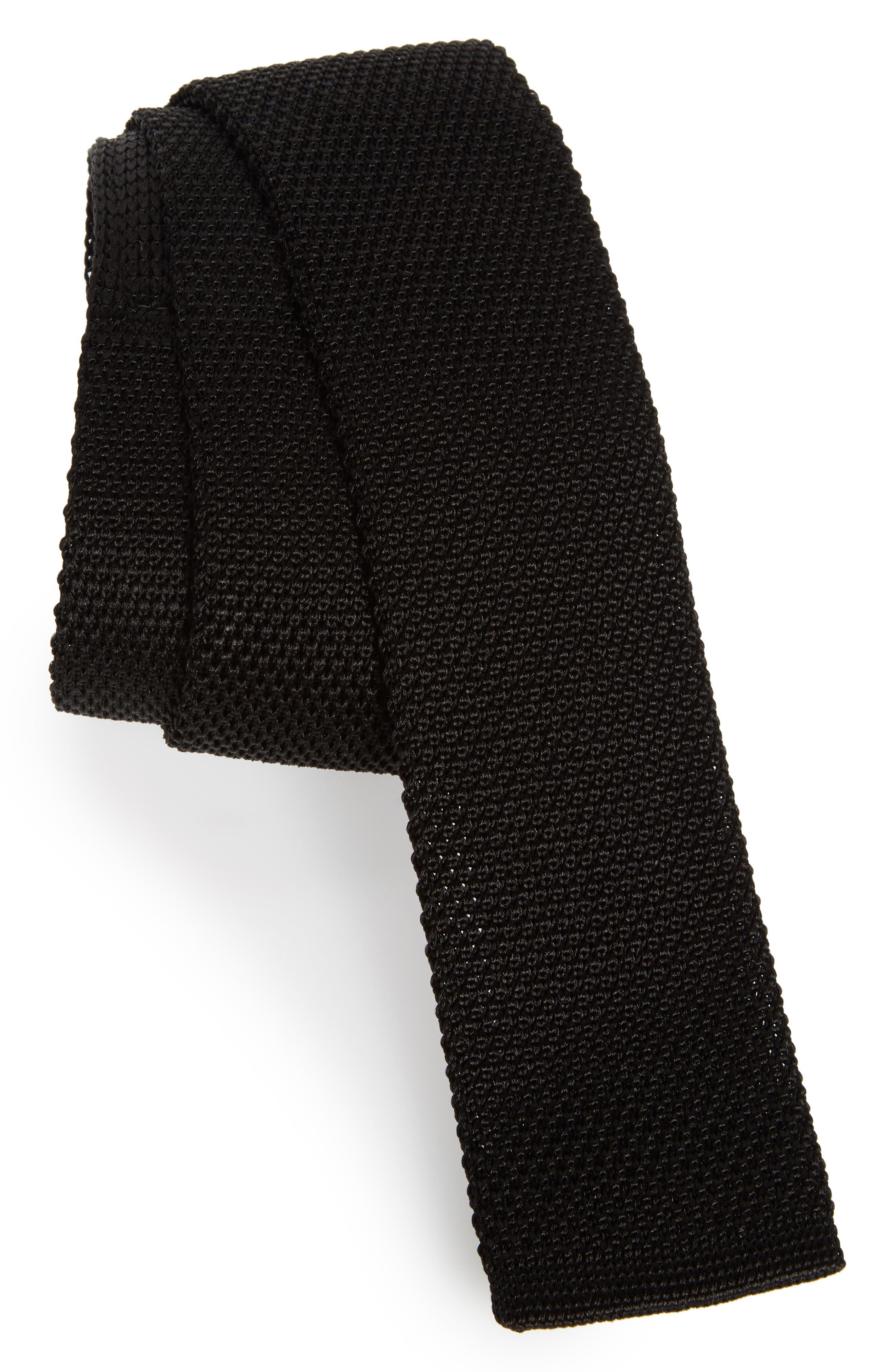 Solid Knit Silk Tie,                         Main,                         color, Black
