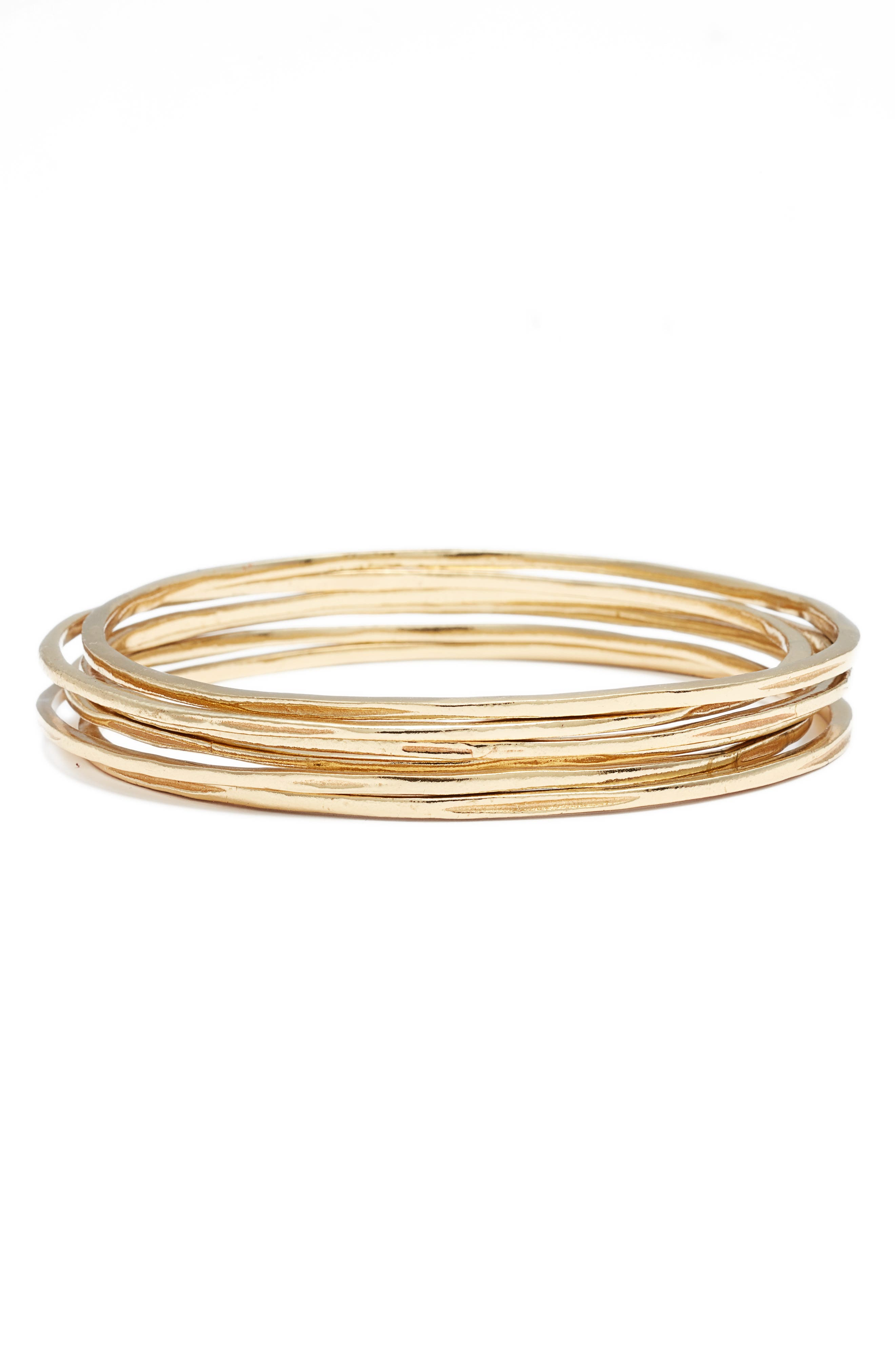 Set of 4 Stackable Bangles,                         Main,                         color, Gold