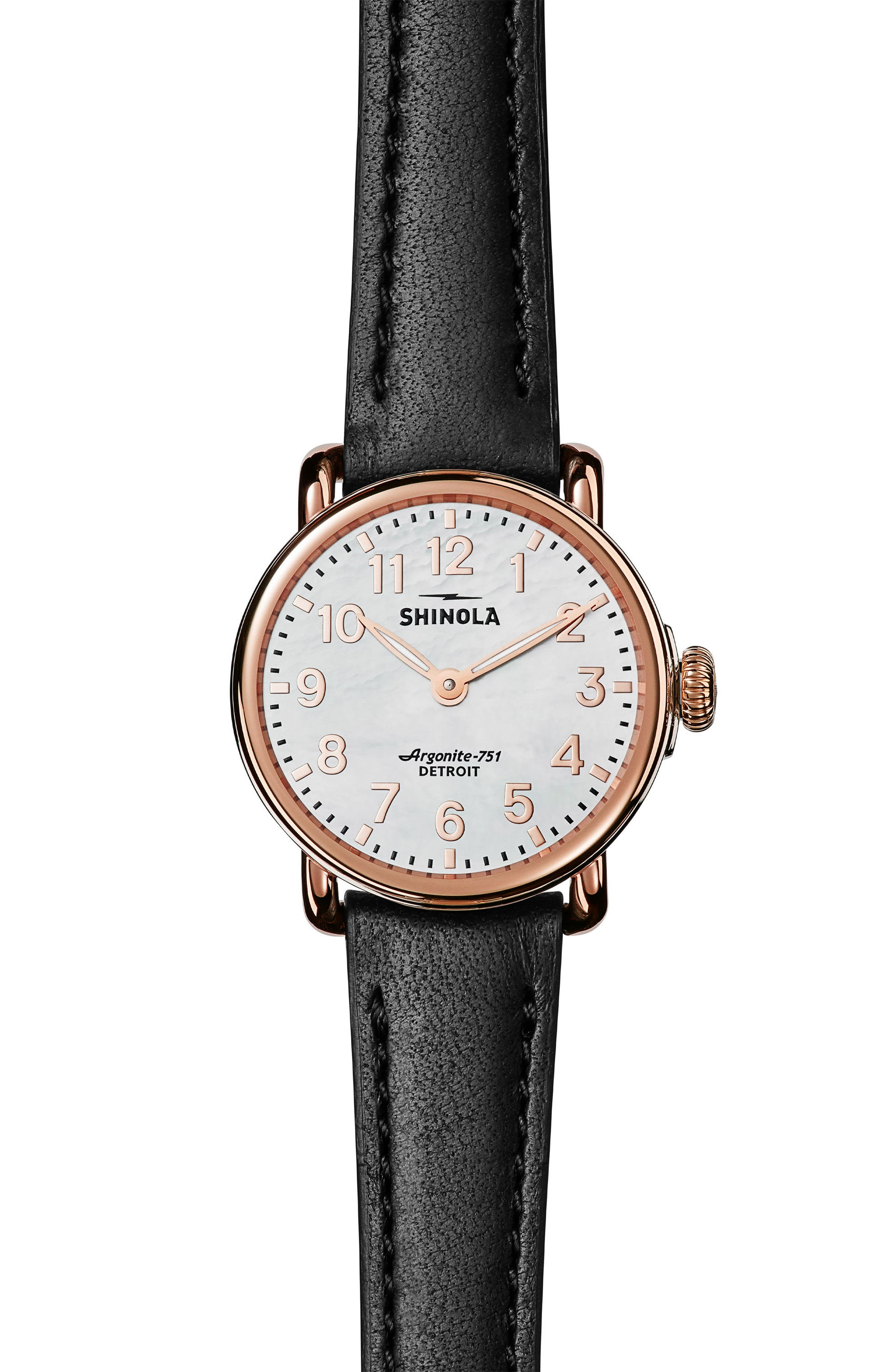 The Runwell Leather Strap Watch, 28mm,                         Main,                         color, Black/ White Mop/ Rose Gold