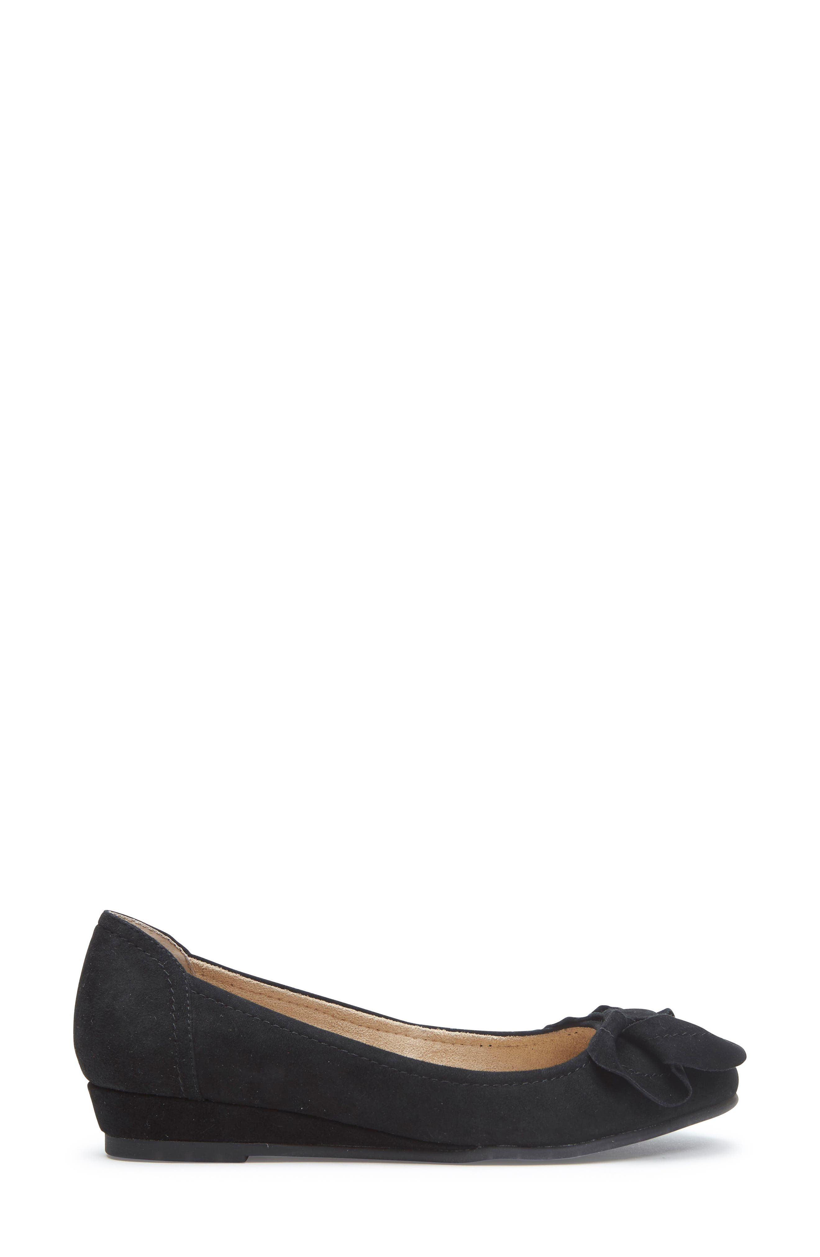 Martina Bow Ballet Wedge,                             Alternate thumbnail 4, color,                             Black Suede