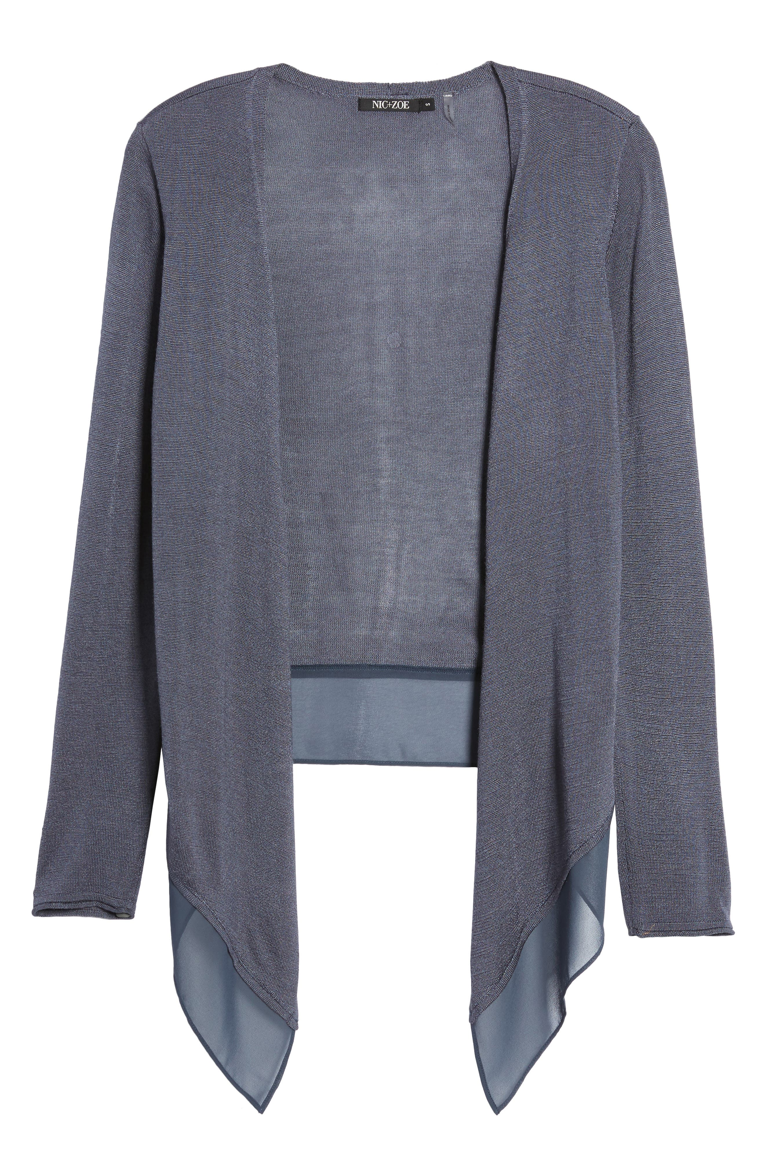 Paired Up Silk Blend Cardigan,                             Alternate thumbnail 6, color,                             Slate