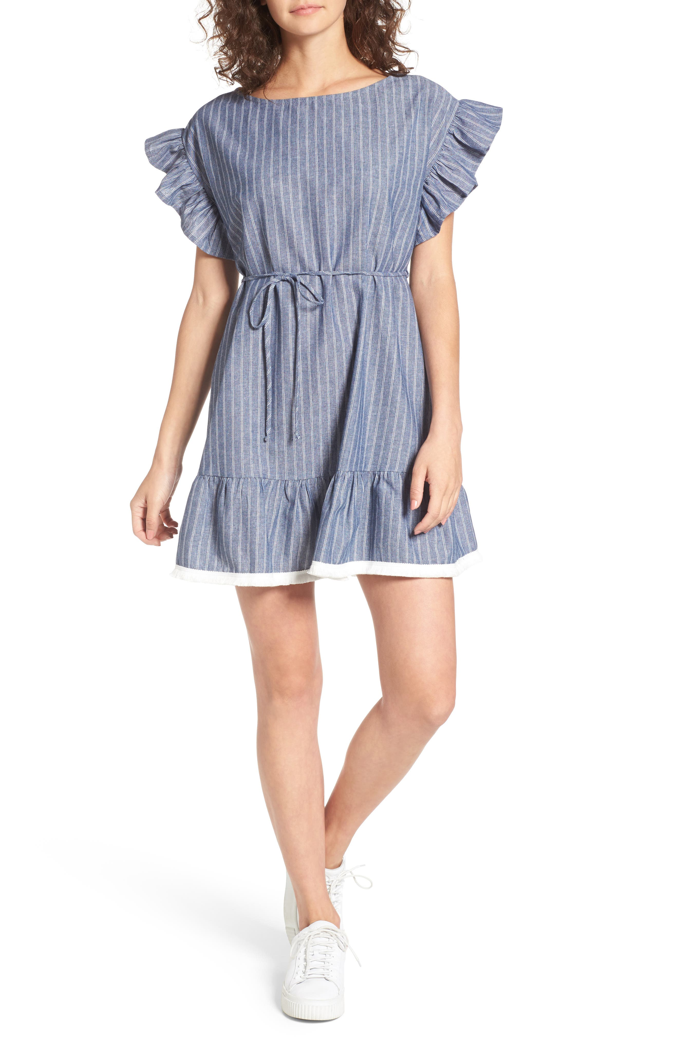 Ruffle Trim Stripe Cotton Shift Dress,                         Main,                         color, Blue Chip Stripe