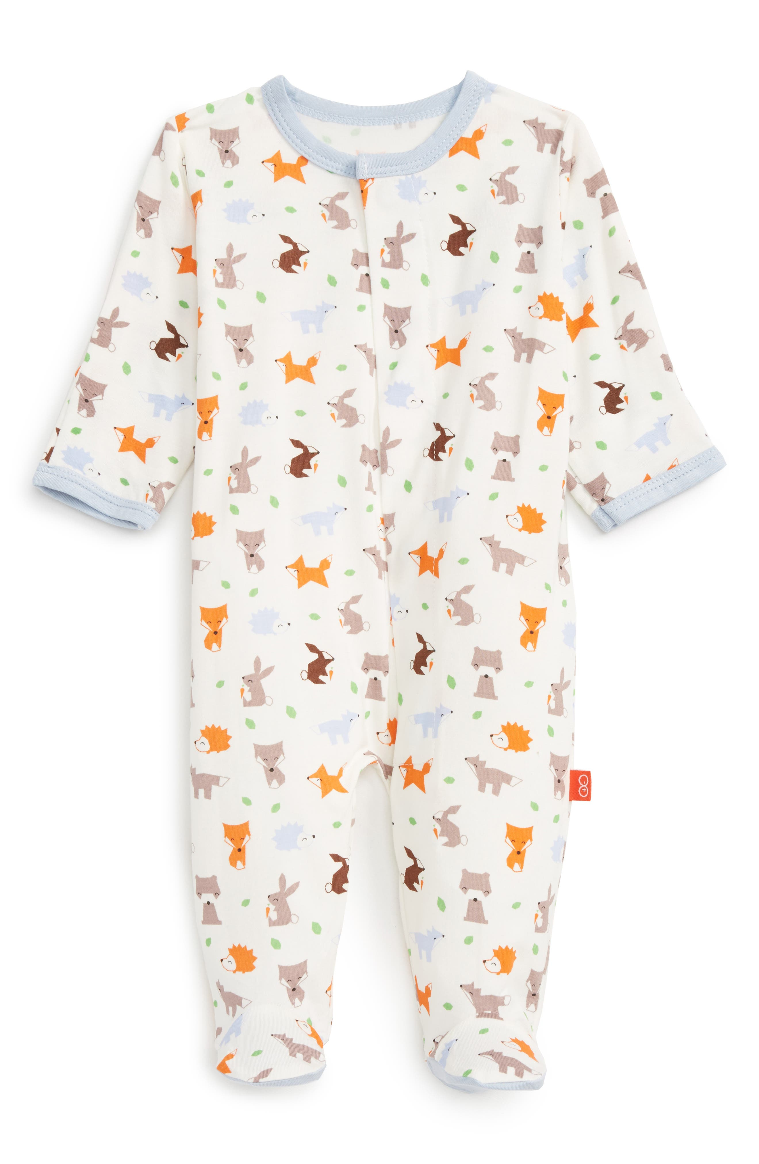 Print Fitted One-Piece Footie Pajamas,                         Main,                         color, Woodland Animals