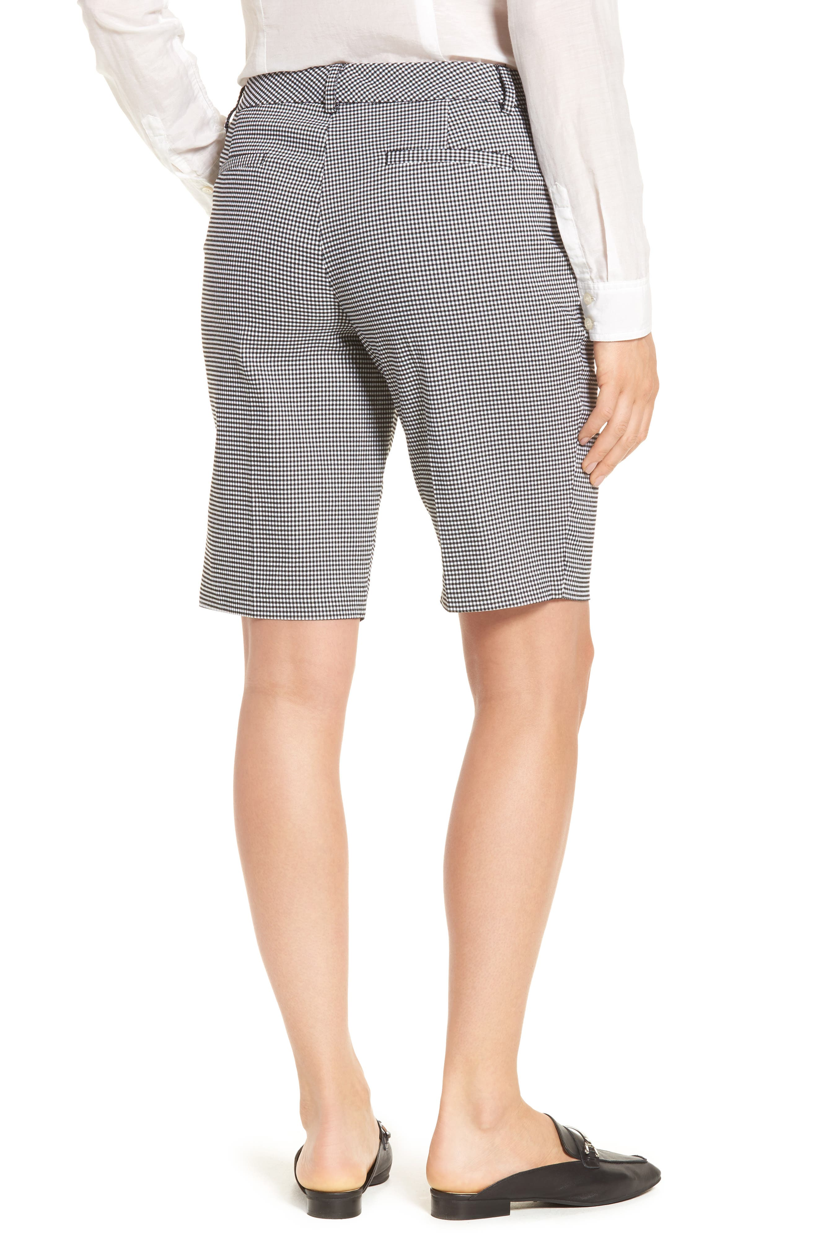 Stretch Bermuda Shorts,                             Alternate thumbnail 2, color,                             Black- White Gingham