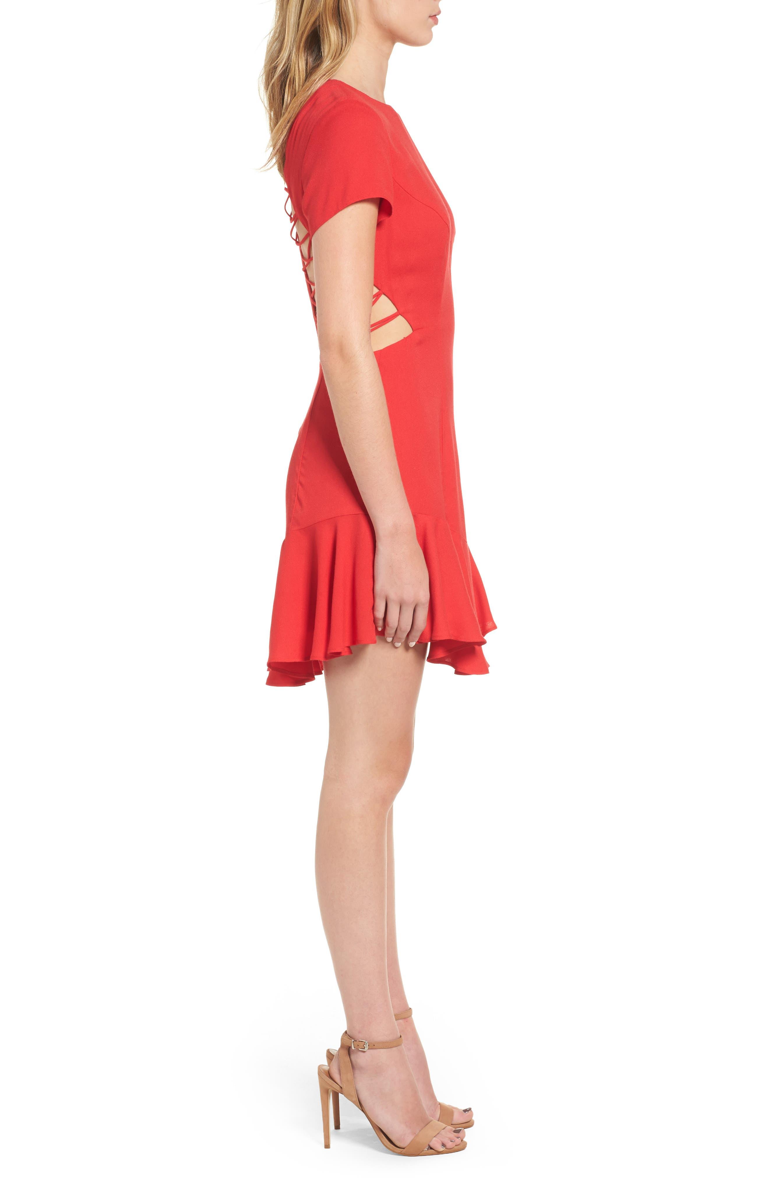 Chelsea Lattice Back Fit & Flare Dress,                             Alternate thumbnail 3, color,                             Red