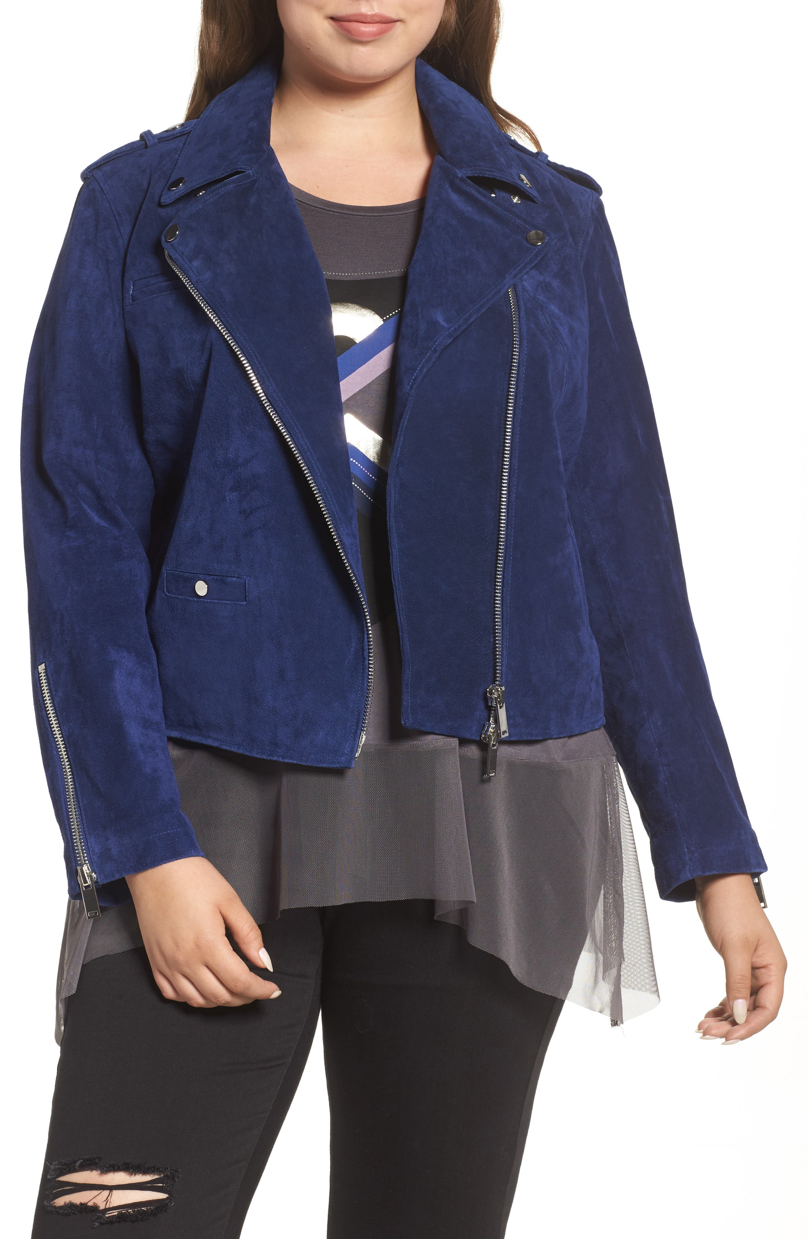 REBEL WILSON X ANGELS Suede Moto Jacket (Plus Size)
