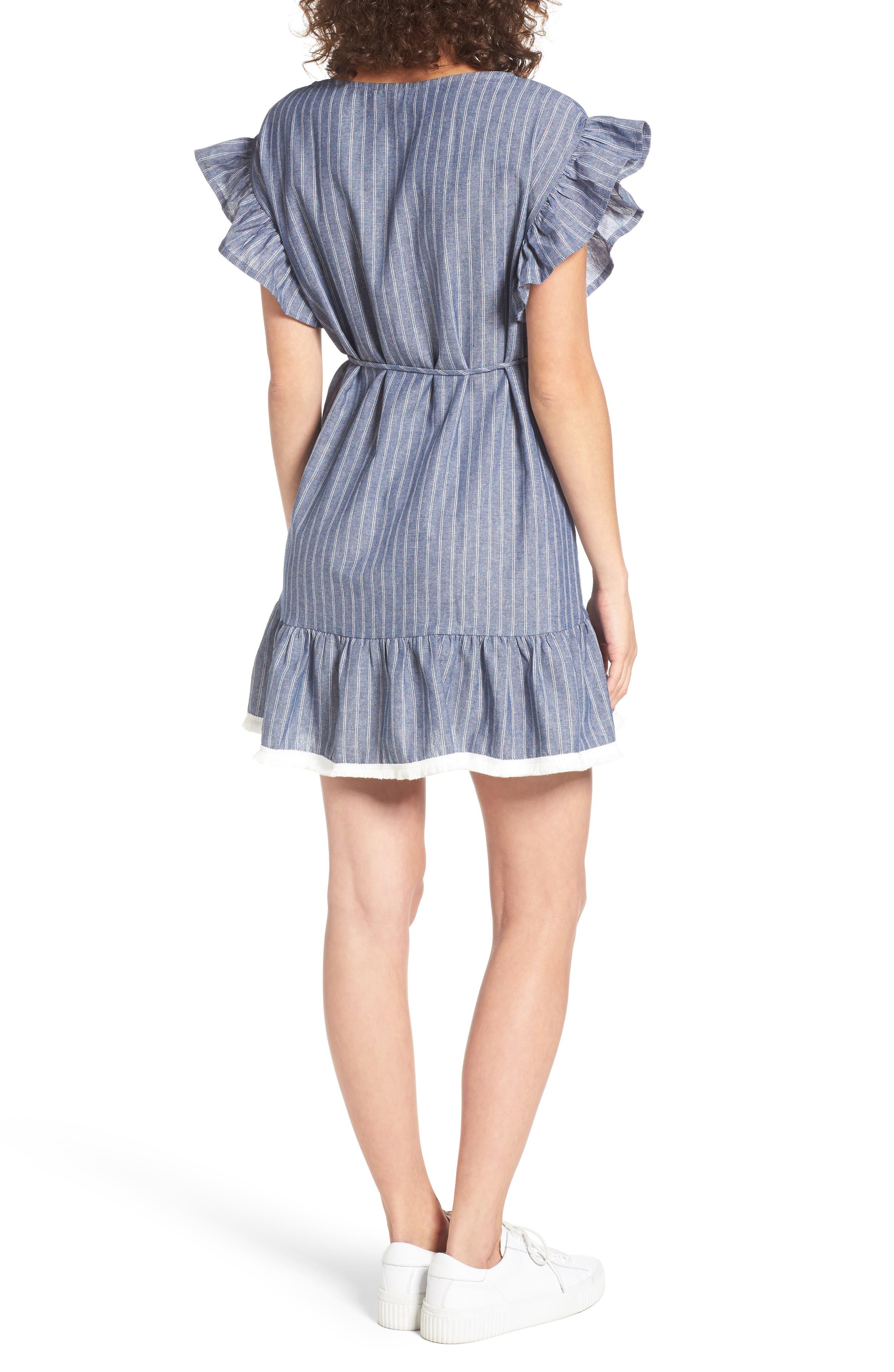 Alternate Image 2  - BP. Ruffle Trim Stripe Cotton Shift Dress