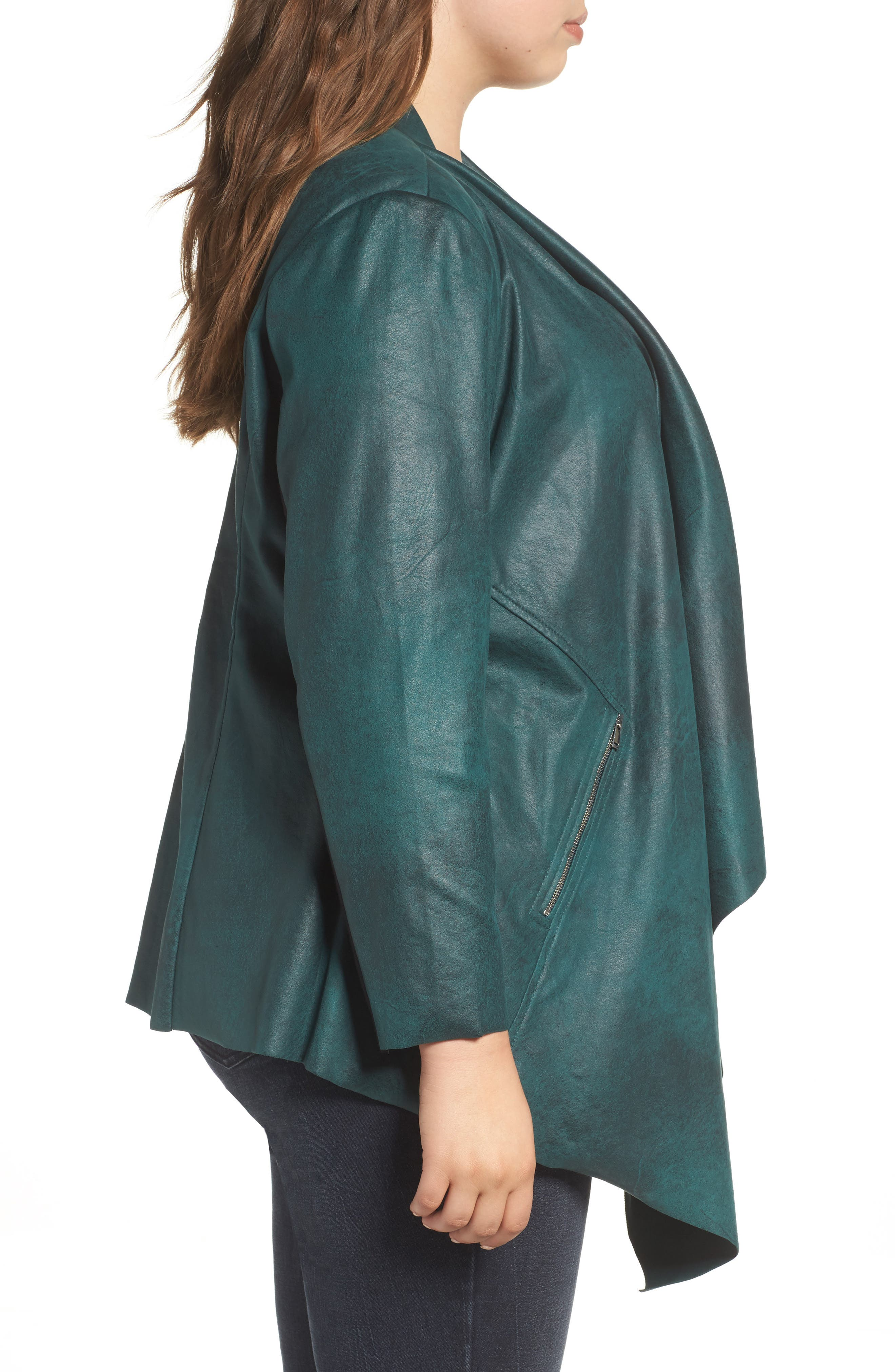 Stretch Faux Suede Jacket,                             Alternate thumbnail 3, color,                             Sea Moss