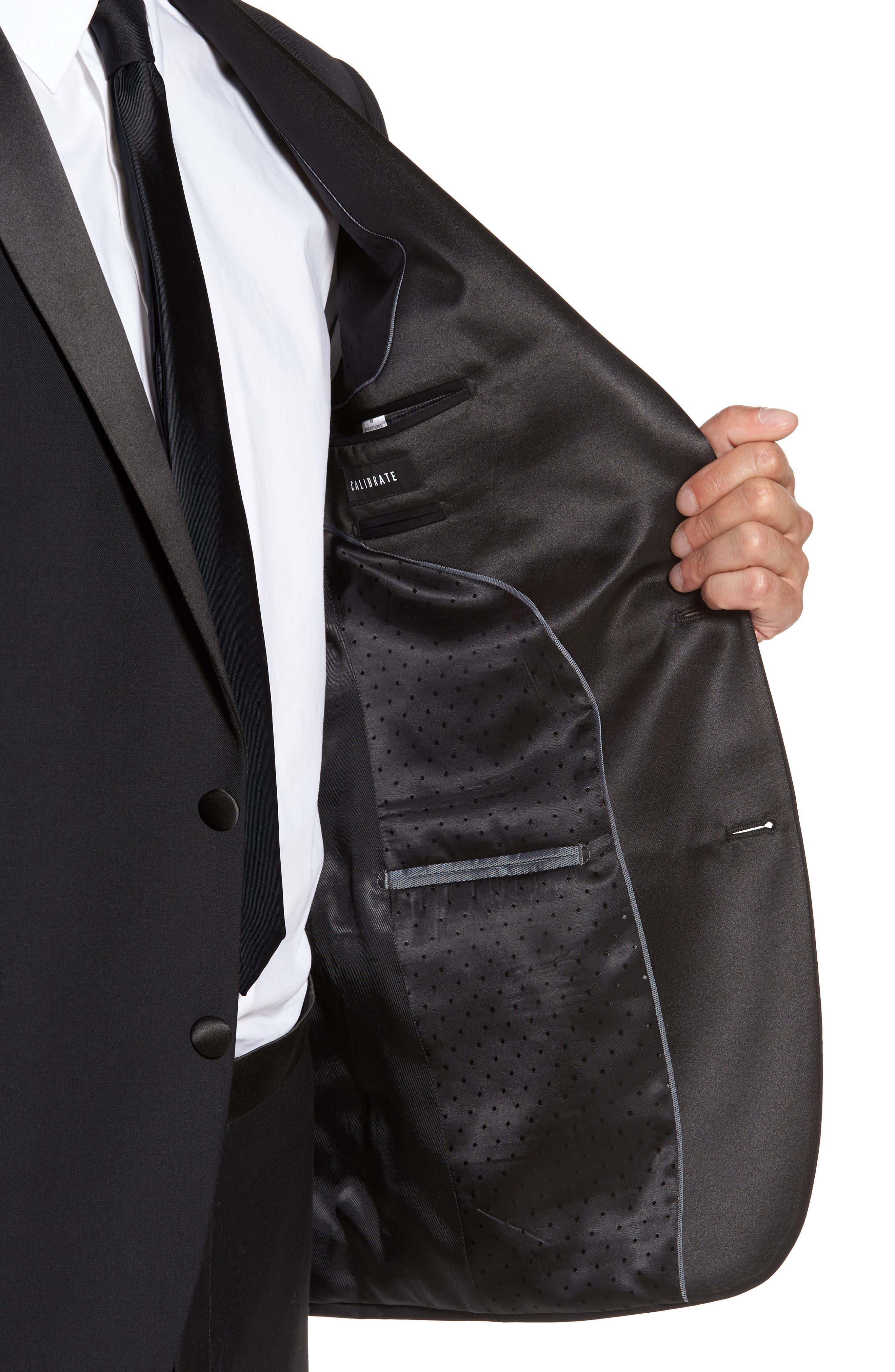 Trim Fit Wool Blend Tuxedo,                             Alternate thumbnail 4, color,                             Black