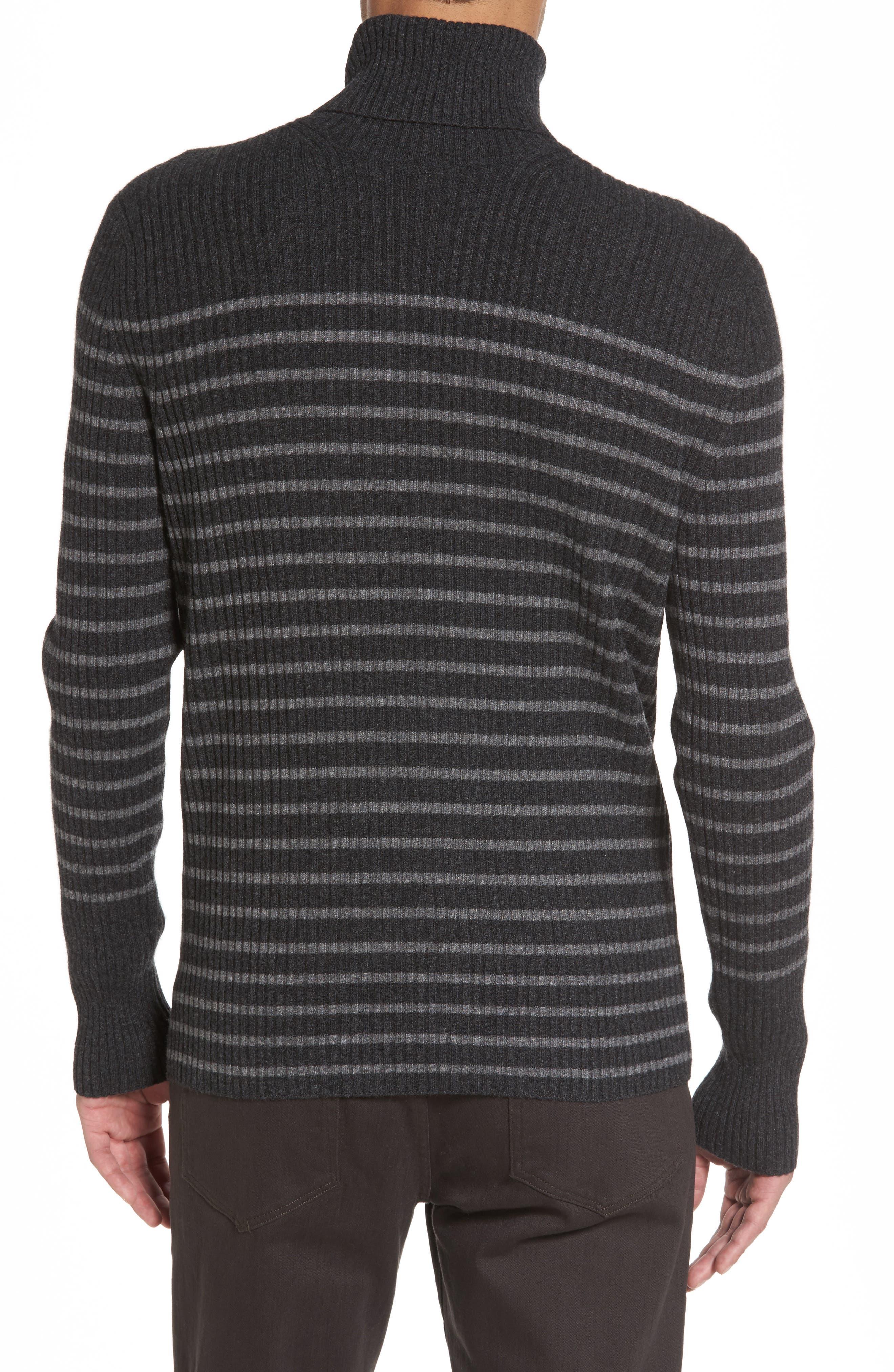 Alternate Image 2  - Vince Regular Fit Breton Stripe Cashmere Turtleneck Sweater