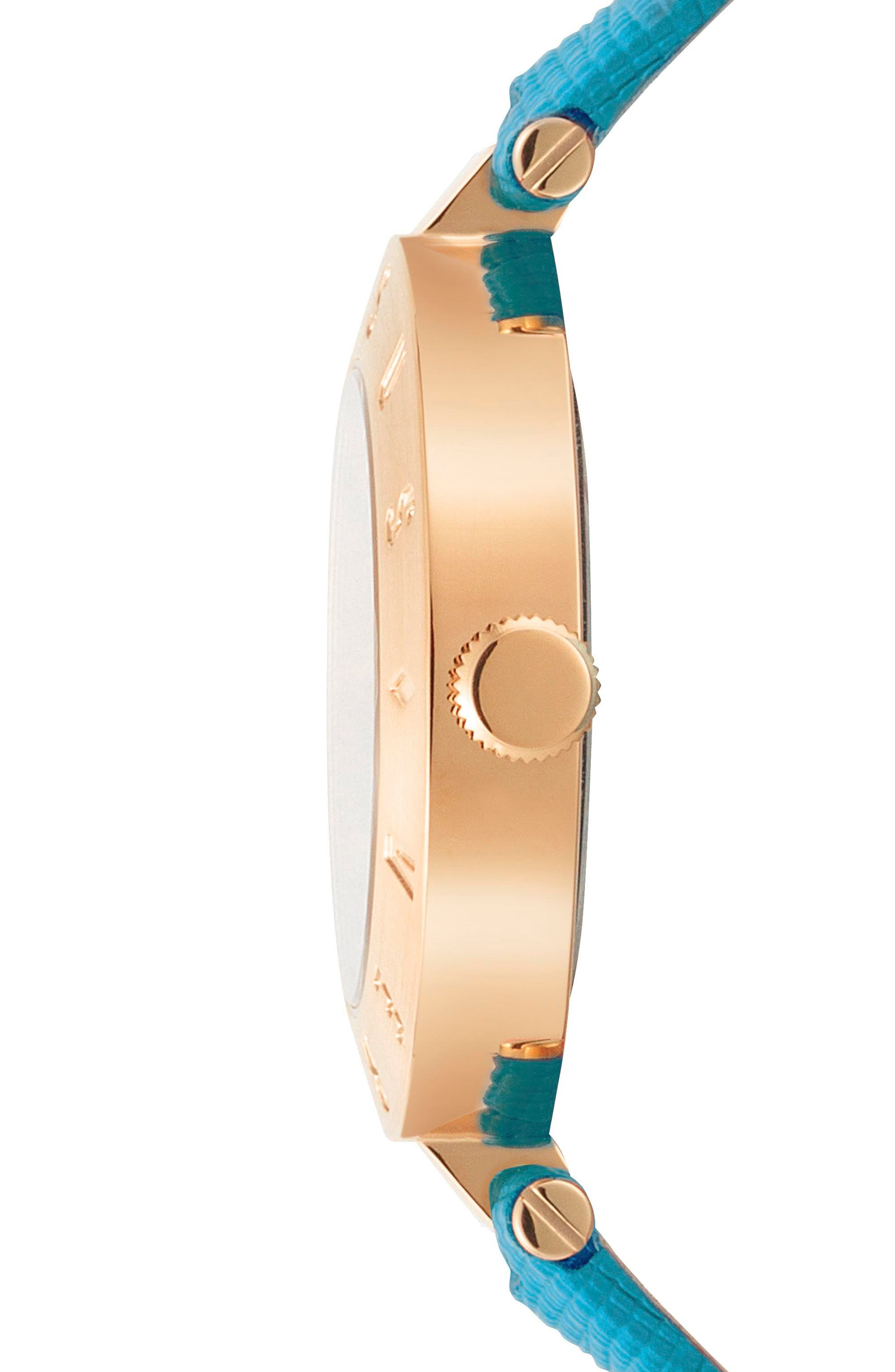 Versus by Versace New Logo Leather Strap Watch, 34mm,                             Alternate thumbnail 2, color,                             Green/ Gold
