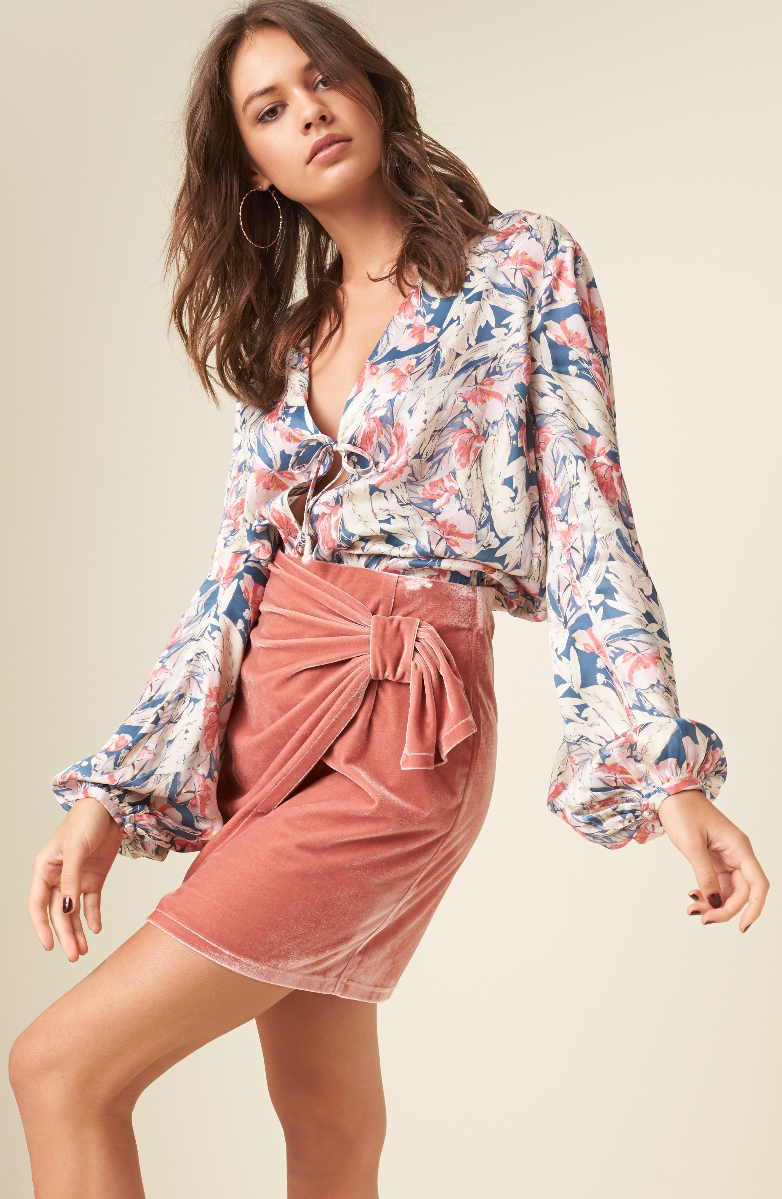 Katie Faux Wrap Skirt,                             Alternate thumbnail 6, color,                             Wild Rose