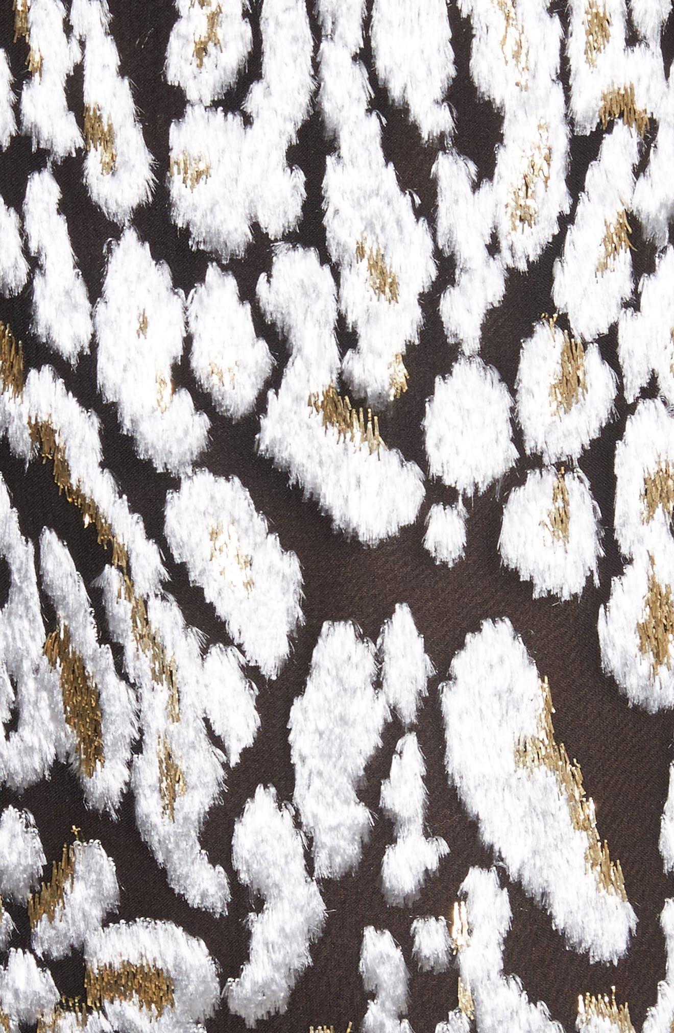 Ocelot Velvet Jacquard Dress,                             Alternate thumbnail 6, color,                             Black/ Ivory/ Gold