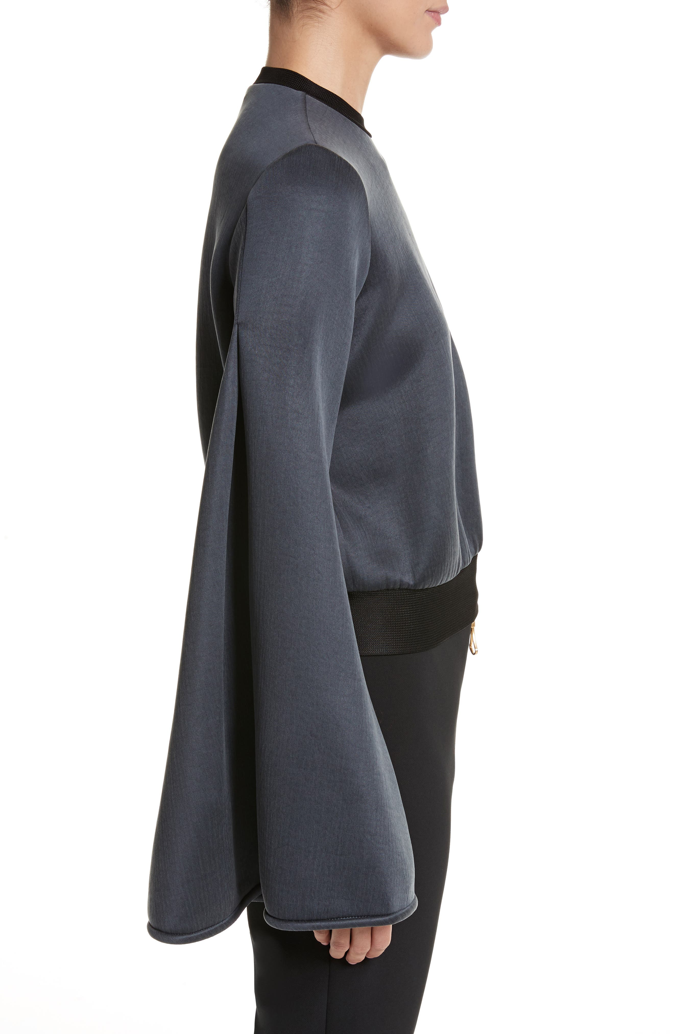 Immortal Flare Sleeve Sweater,                             Alternate thumbnail 5, color,                             Charcoal Navy
