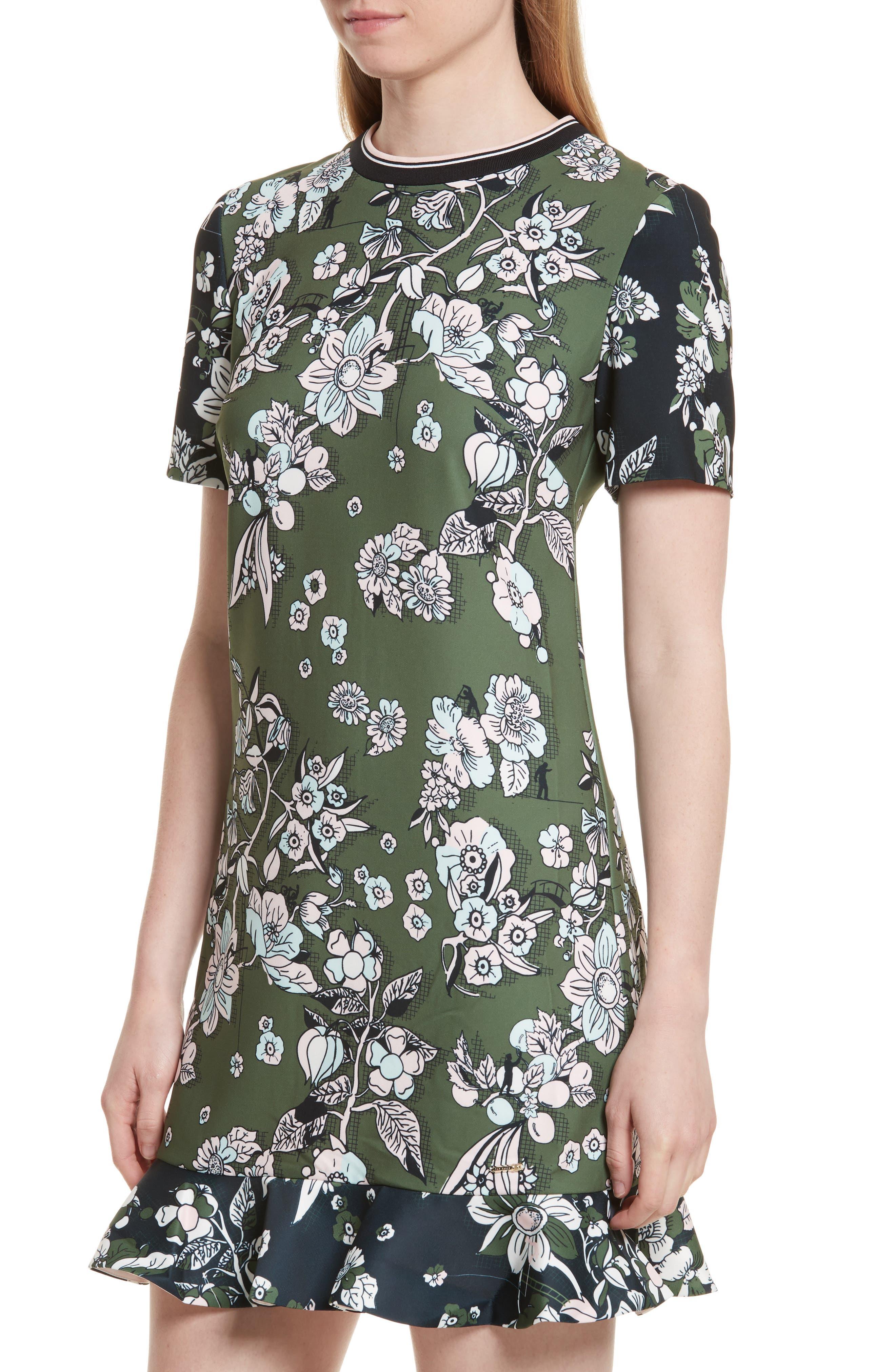 Hoster Floral Print Ruffle Hem Dress,                             Alternate thumbnail 4, color,                             Green