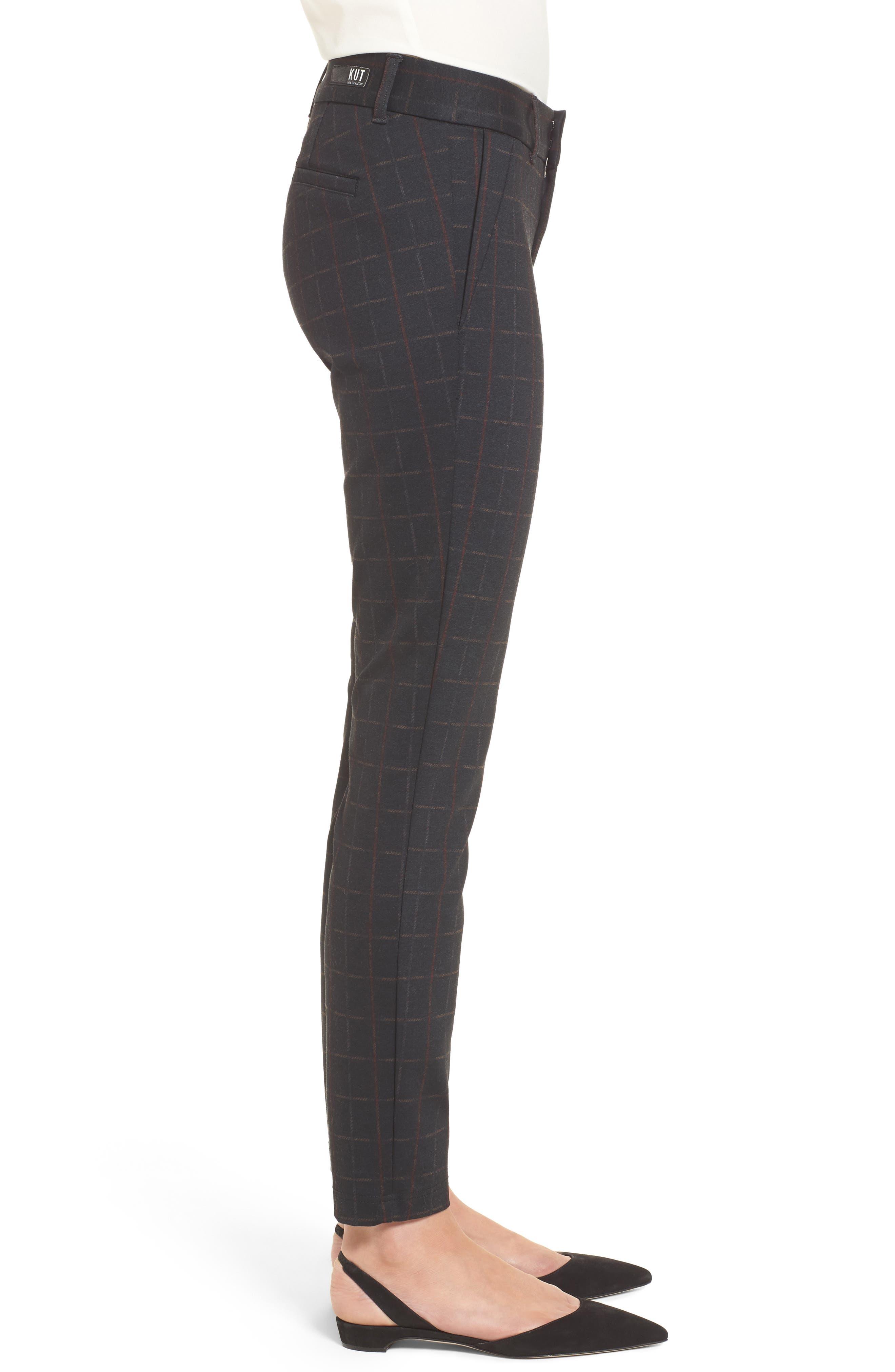 Mia Plaid Ankle Skinny Pants,                             Alternate thumbnail 3, color,                             Heather Grey