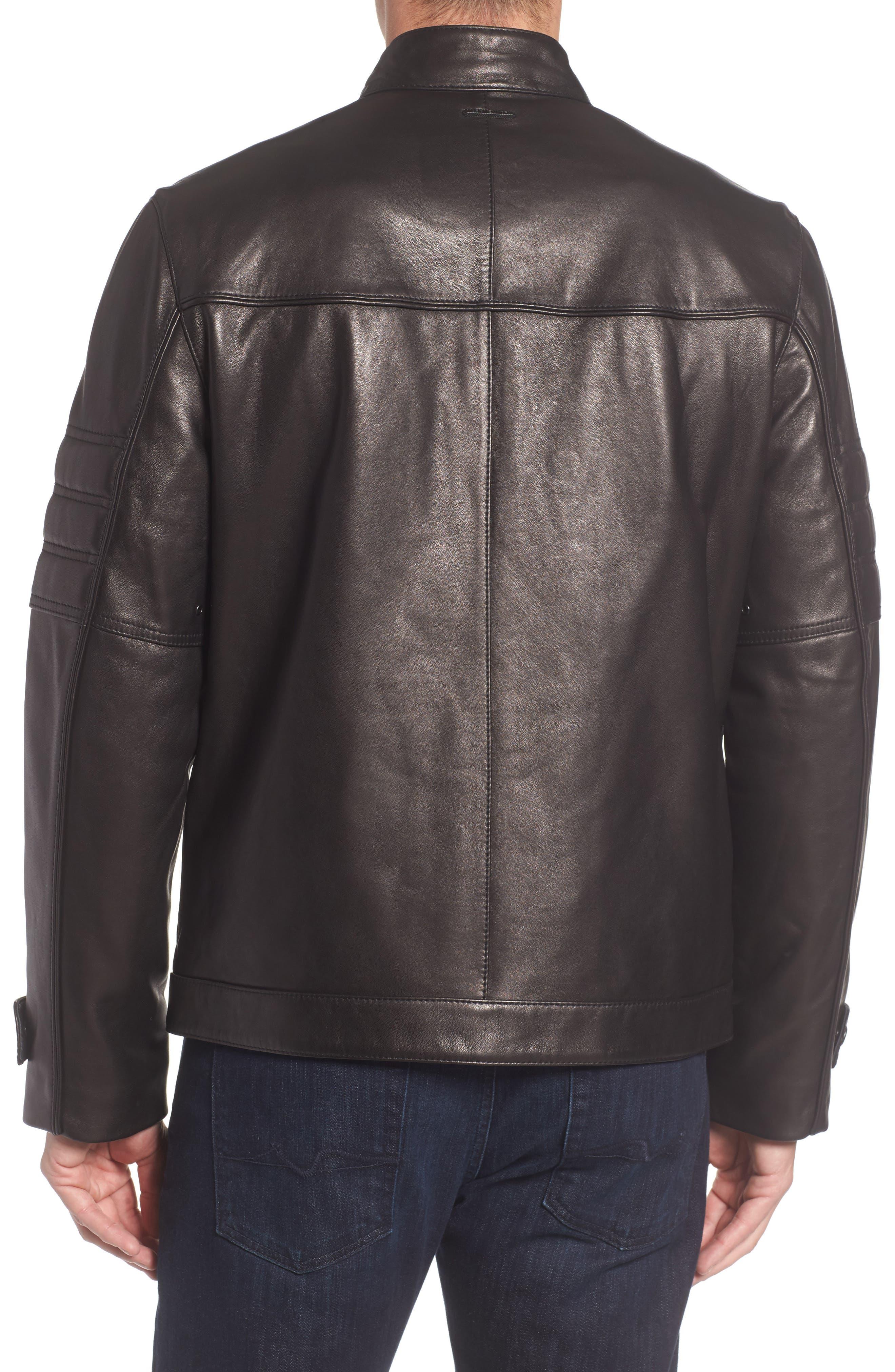 Tuers Lambskin Leather Moto Jacket,                             Alternate thumbnail 2, color,                             Black