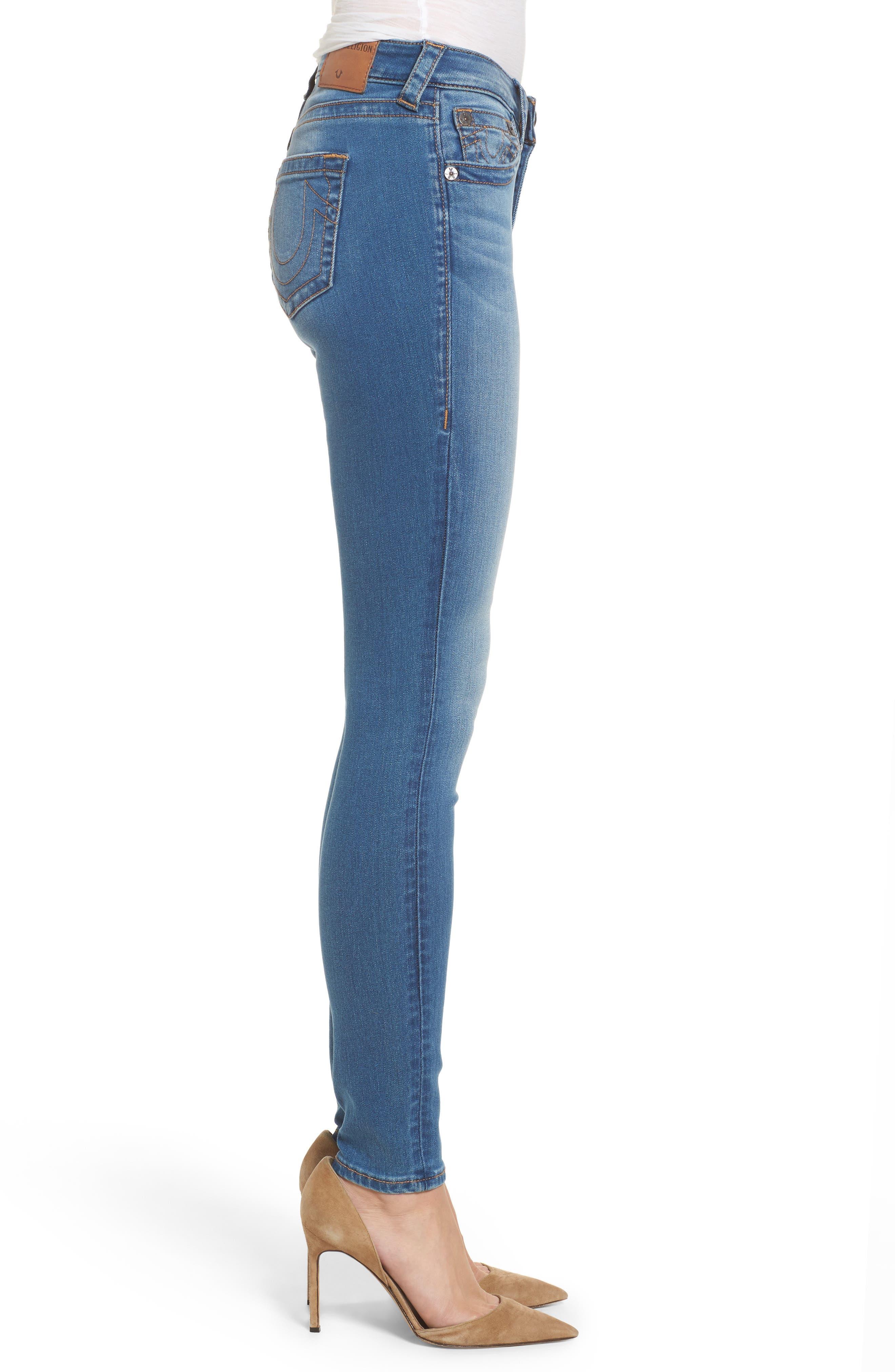 Jennie Curvy Skinny Jeans,                             Alternate thumbnail 3, color,                             Nu Authentic Indigo