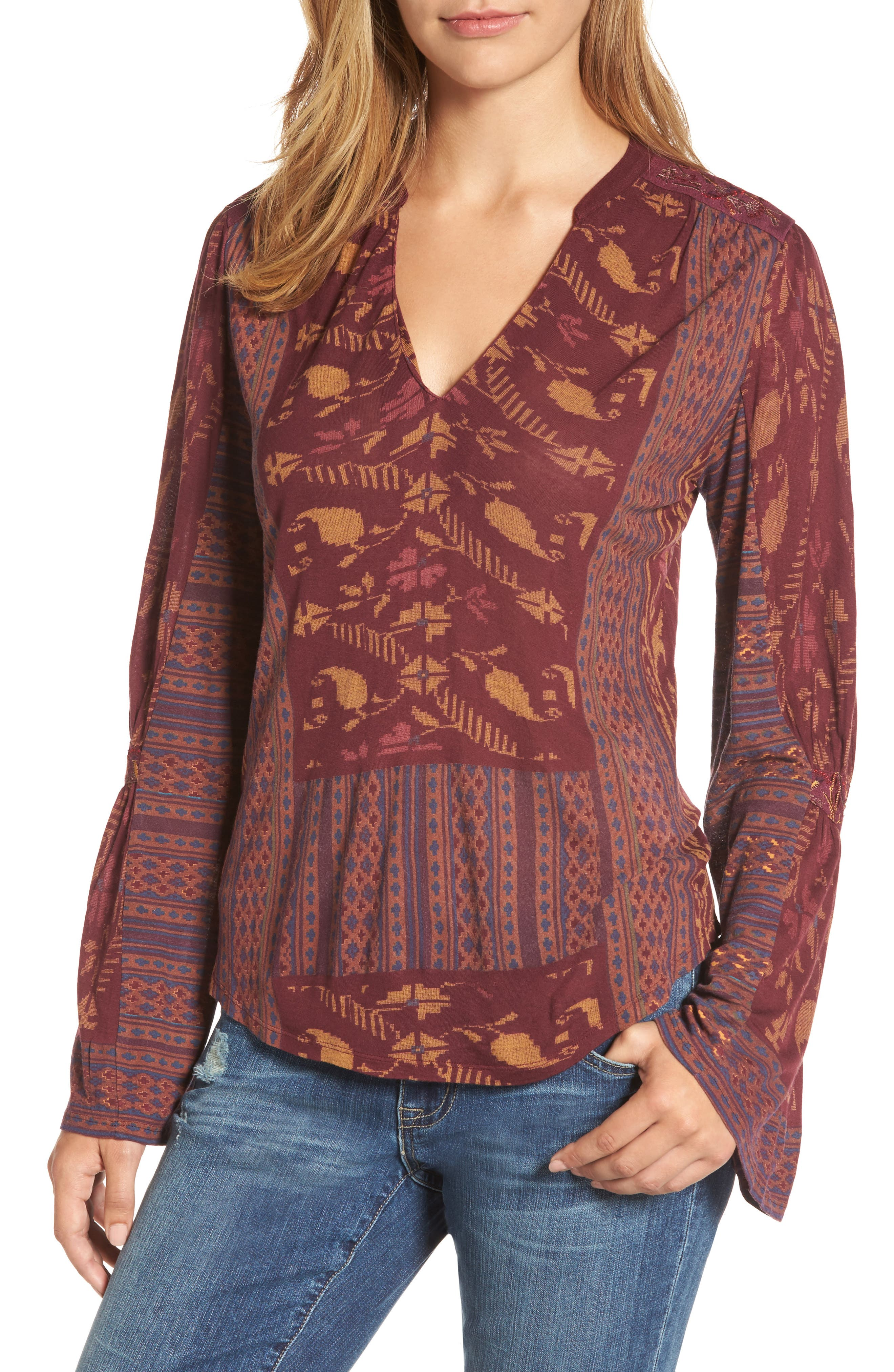 Main Image - Lucky Brand Mix Print Peasant Top