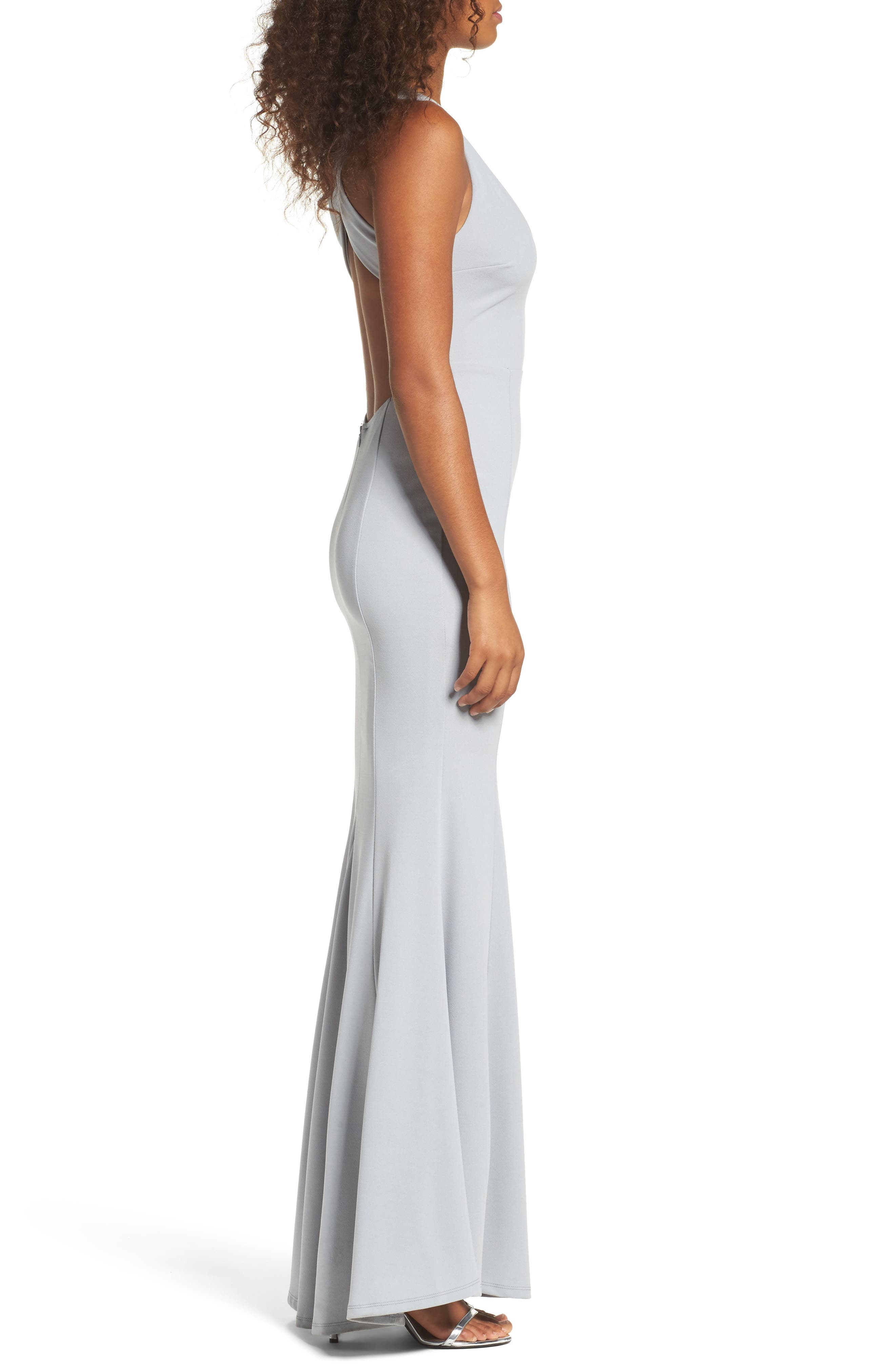 Alternate Image 3  - Lulus Heaven & Earth Plunge Neck Gown