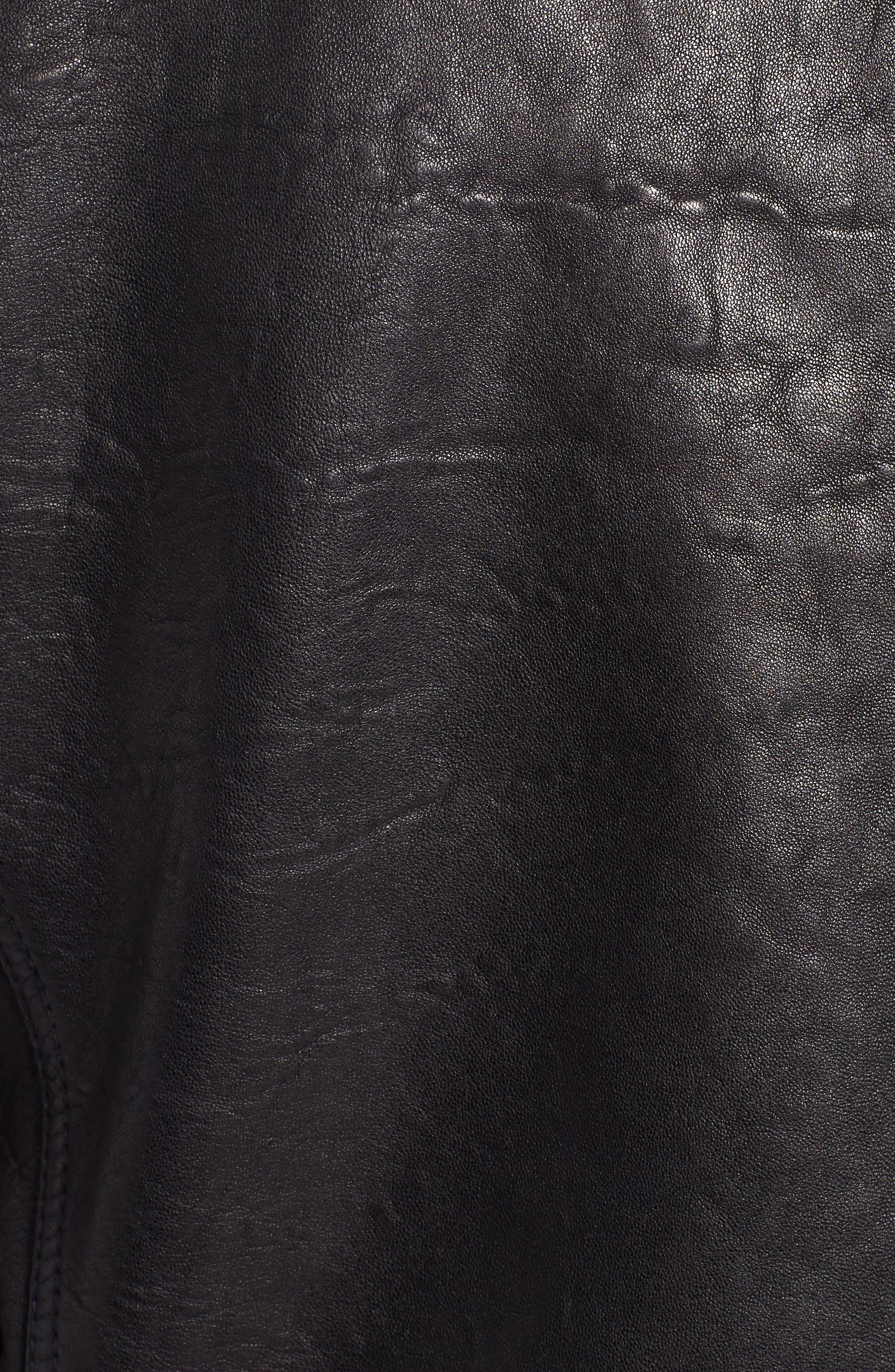 Morrison Spread Collar Leather Jacket,                             Alternate thumbnail 6, color,                             Ink