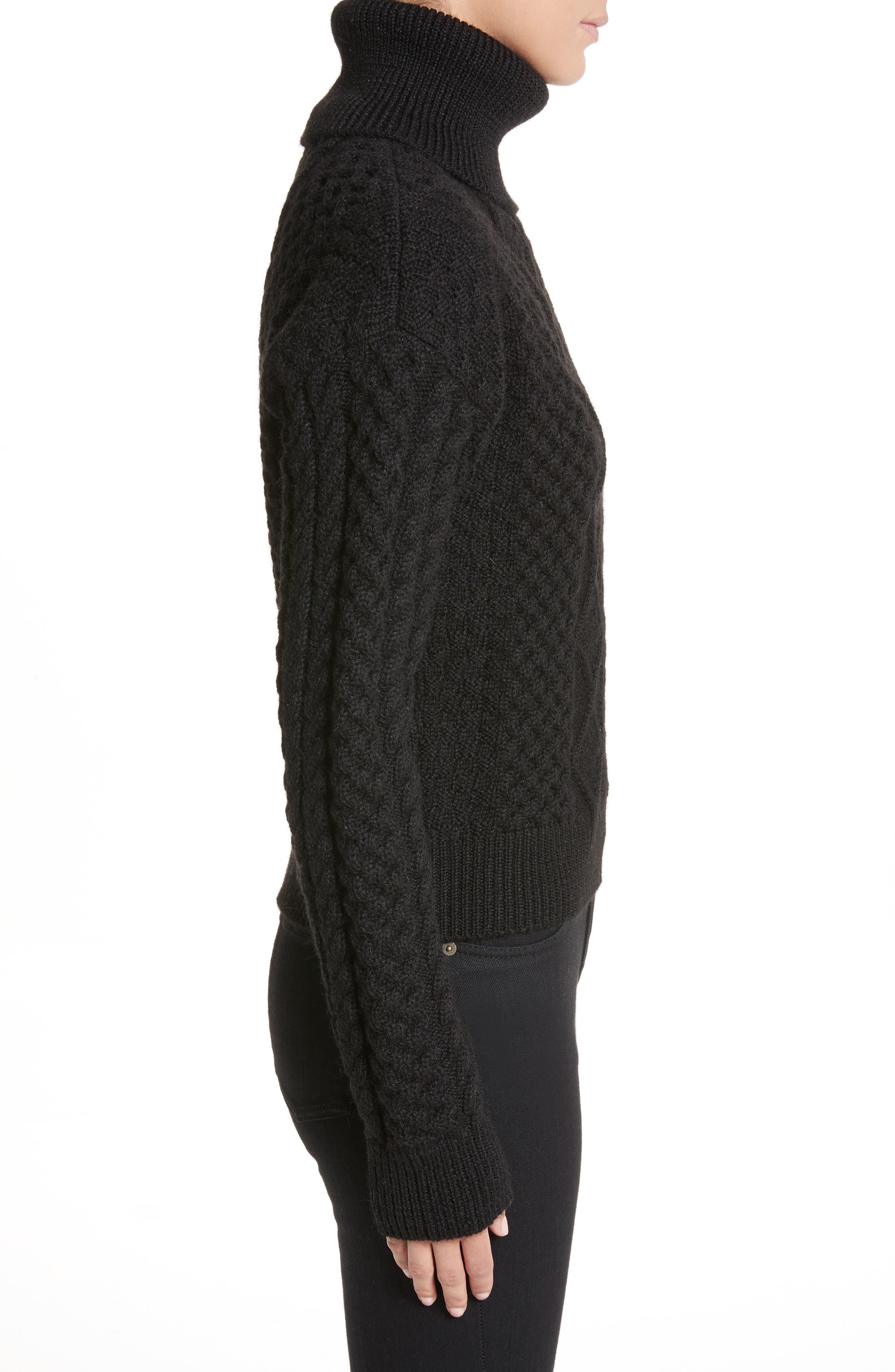 Alternate Image 3  - Saint Laurent Cable Knit Wool Turtleneck Sweater