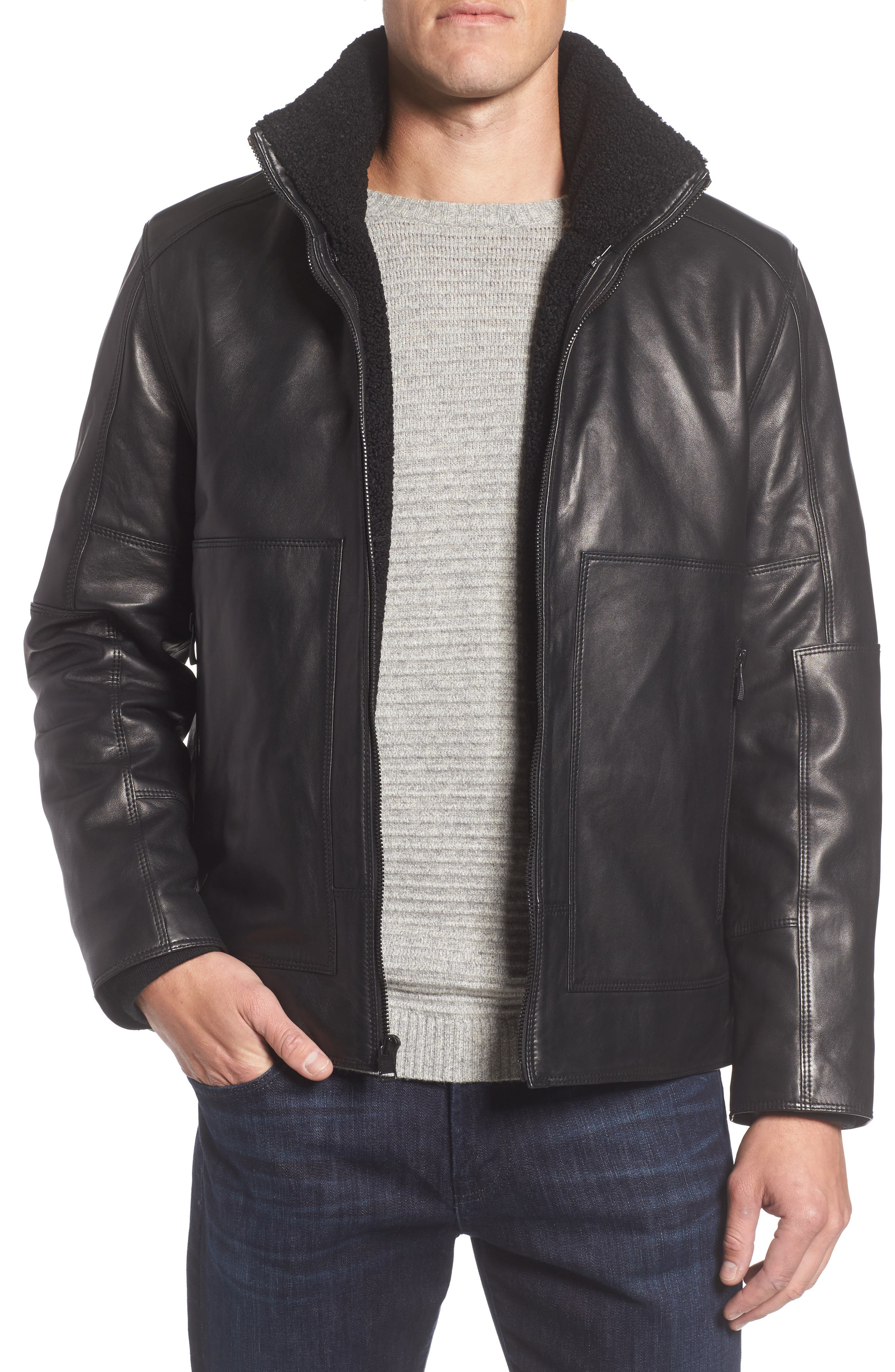 Andrew Marc Trail Master Leather Jacket with Faux Shearling Lining