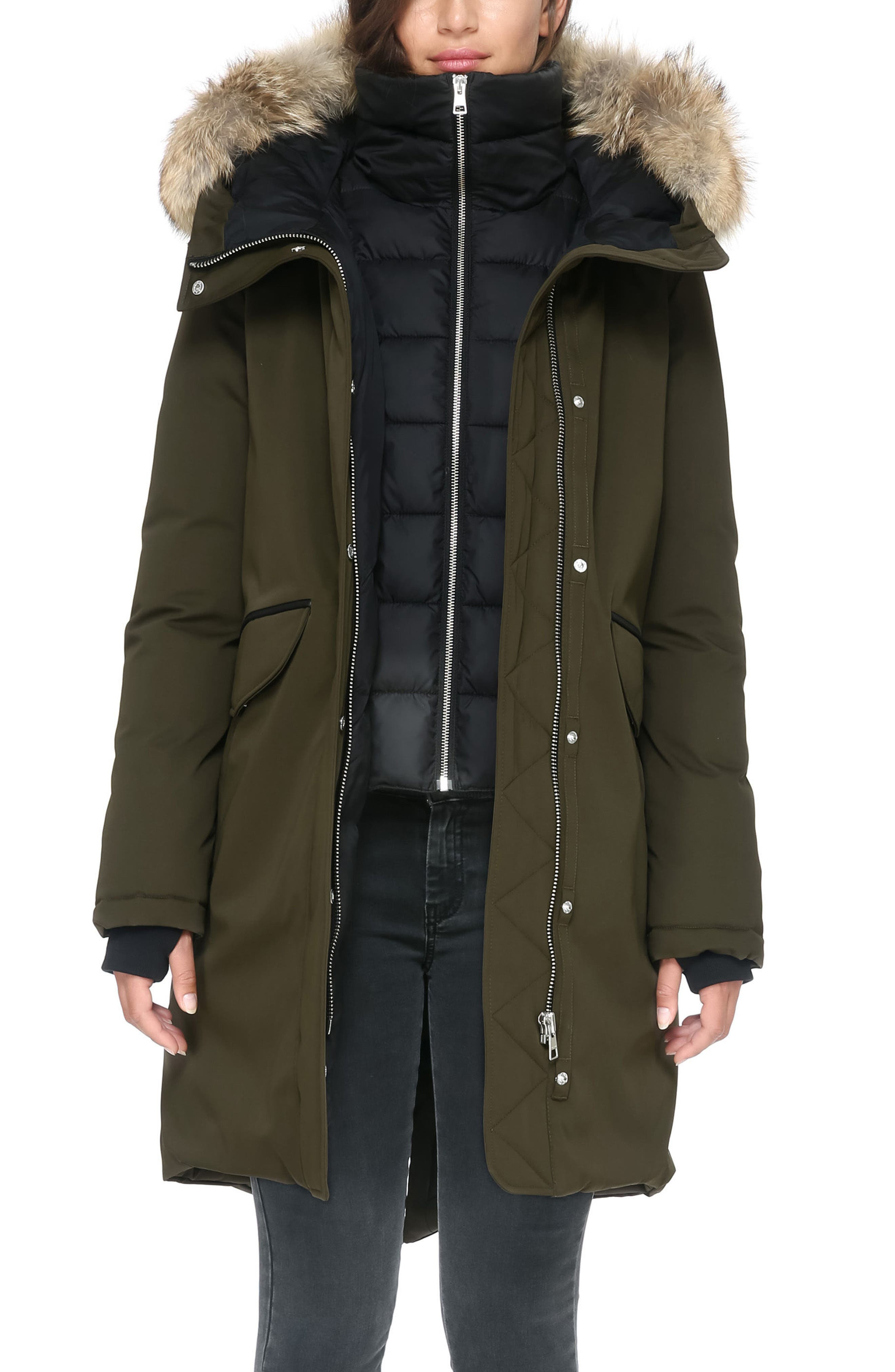 Genuine Coyote Fur Hooded Down Parka,                             Alternate thumbnail 4, color,                             Army