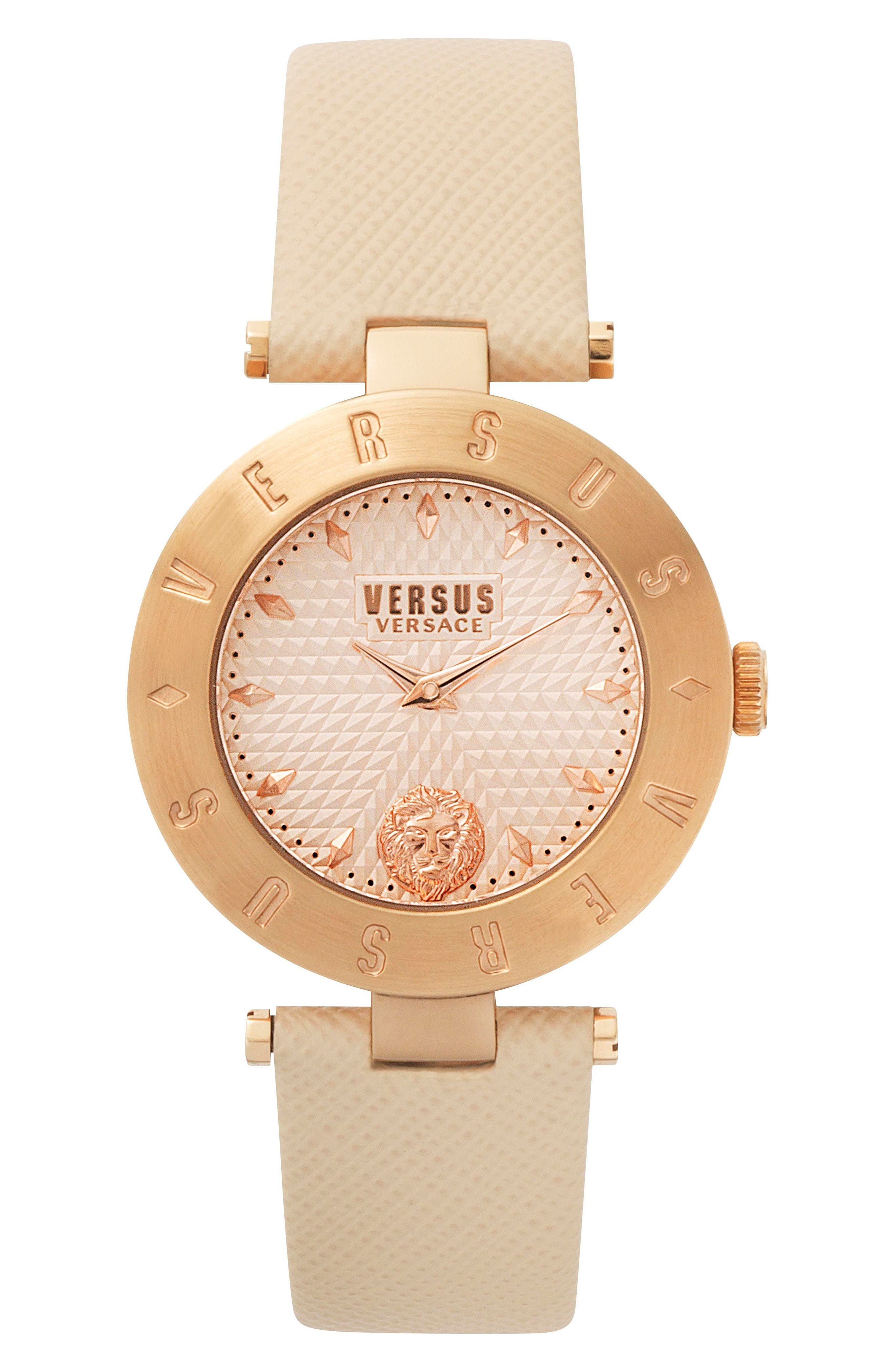 Versus by Versace New Logo Leather Strap Watch, 34mm,                         Main,                         color, Beige/ Rose Gold
