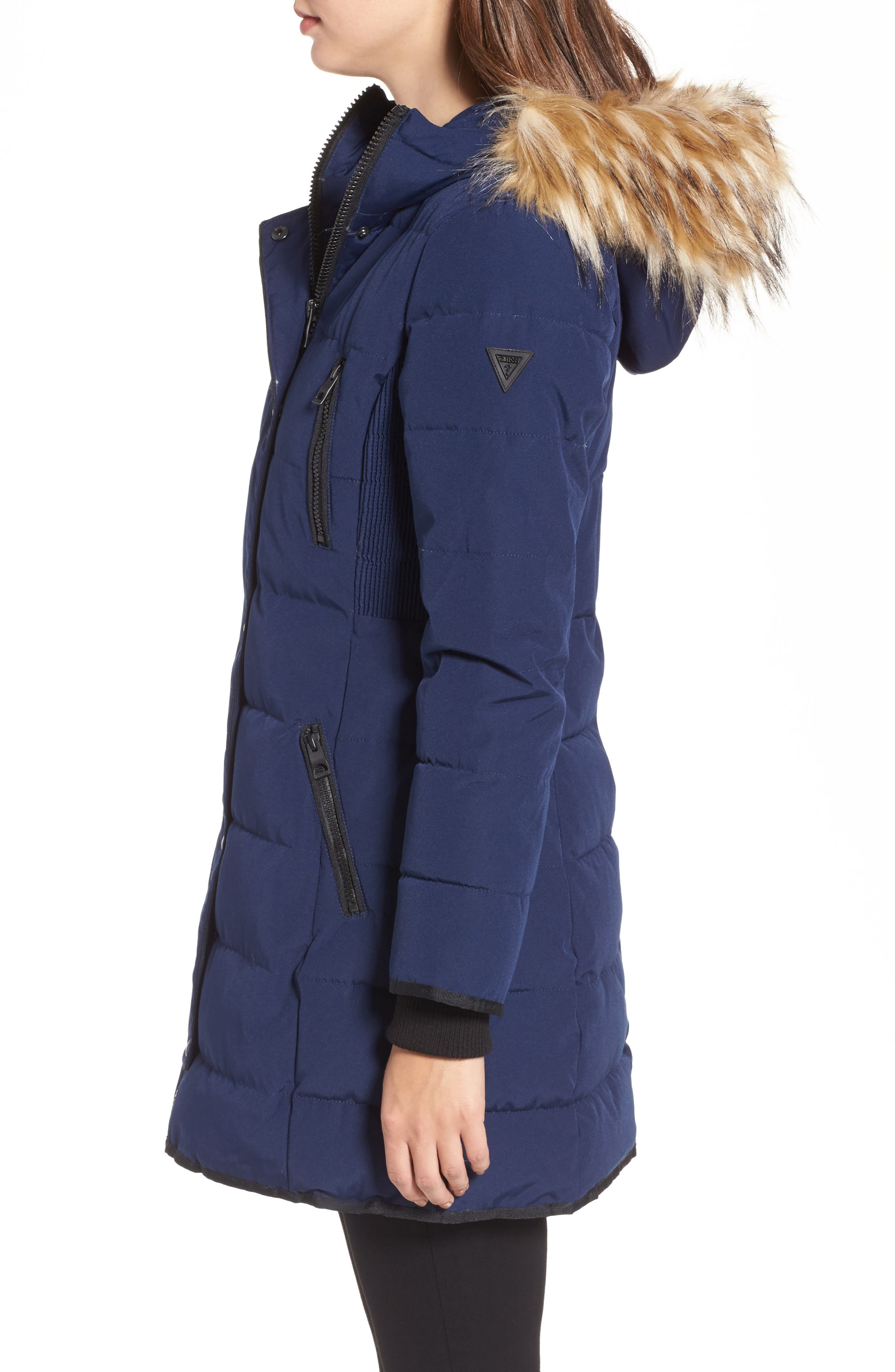 Hooded Jacket with Faux Fur Trim,                             Alternate thumbnail 3, color,                             Navy