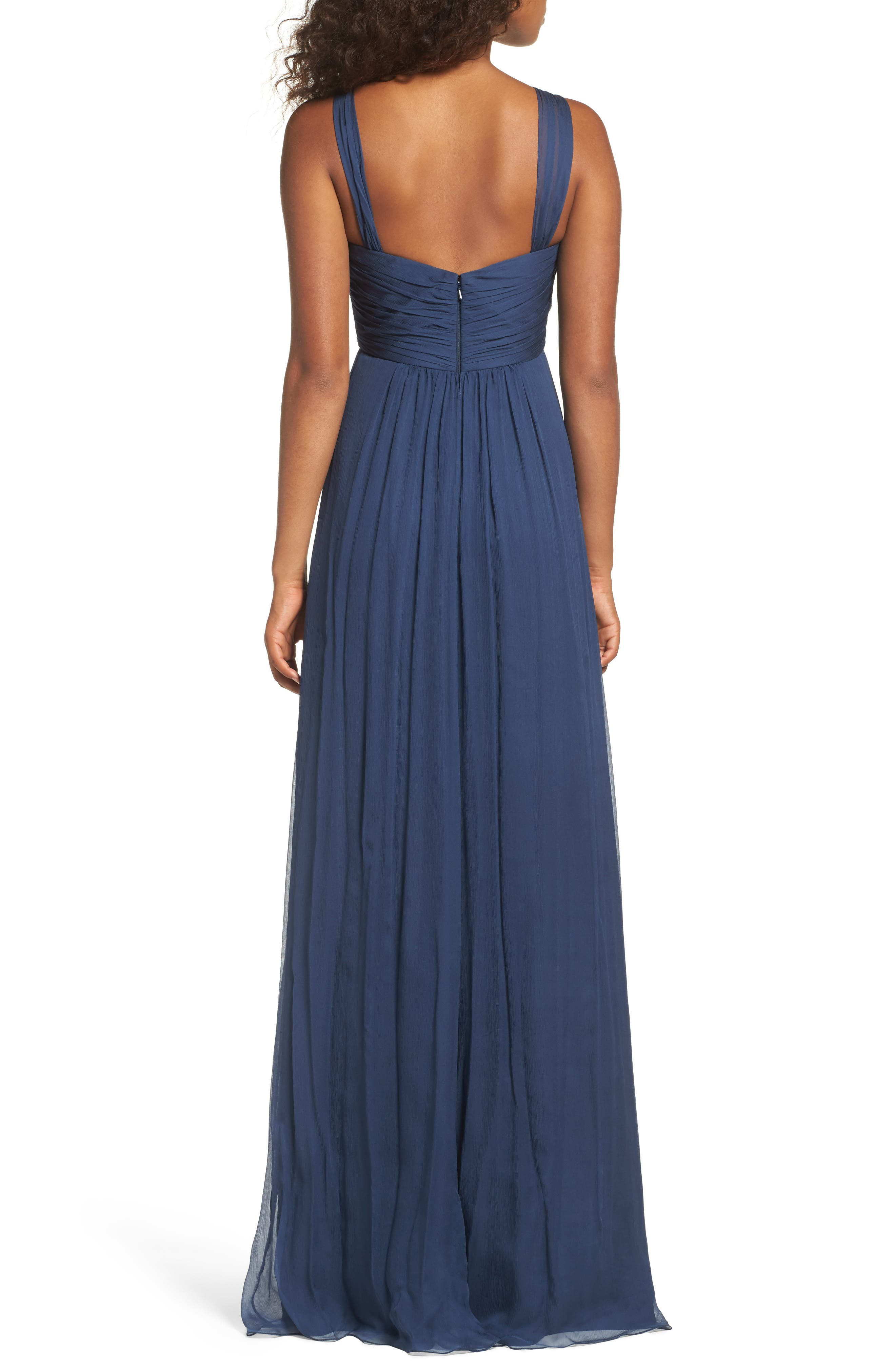 Alternate Image 2  - Amsale Corbin Crinkled Chiffon Empire Gown