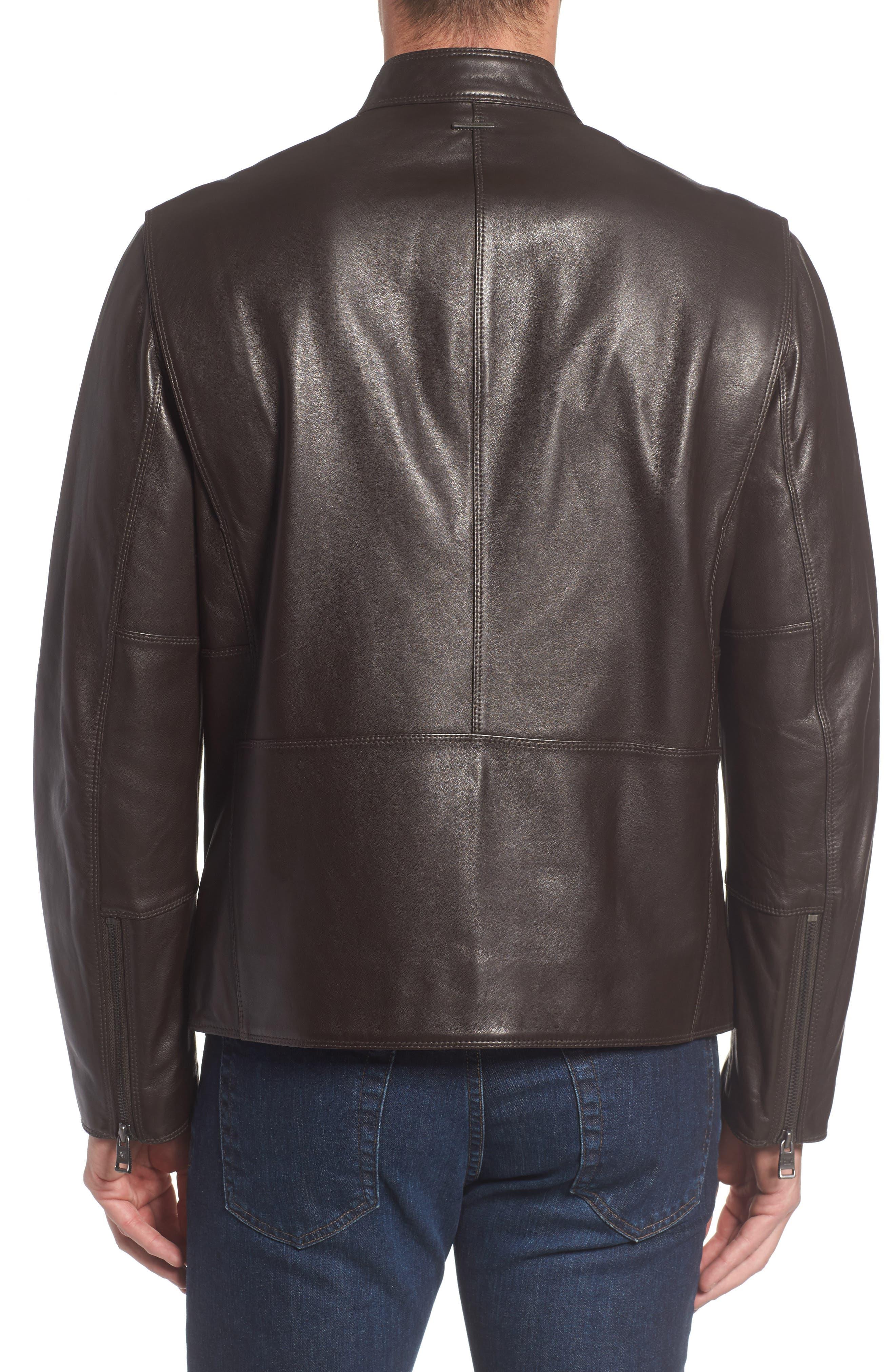 Alternate Image 2  - Andrew Marc Gibson Slim Leather Moto Jacket