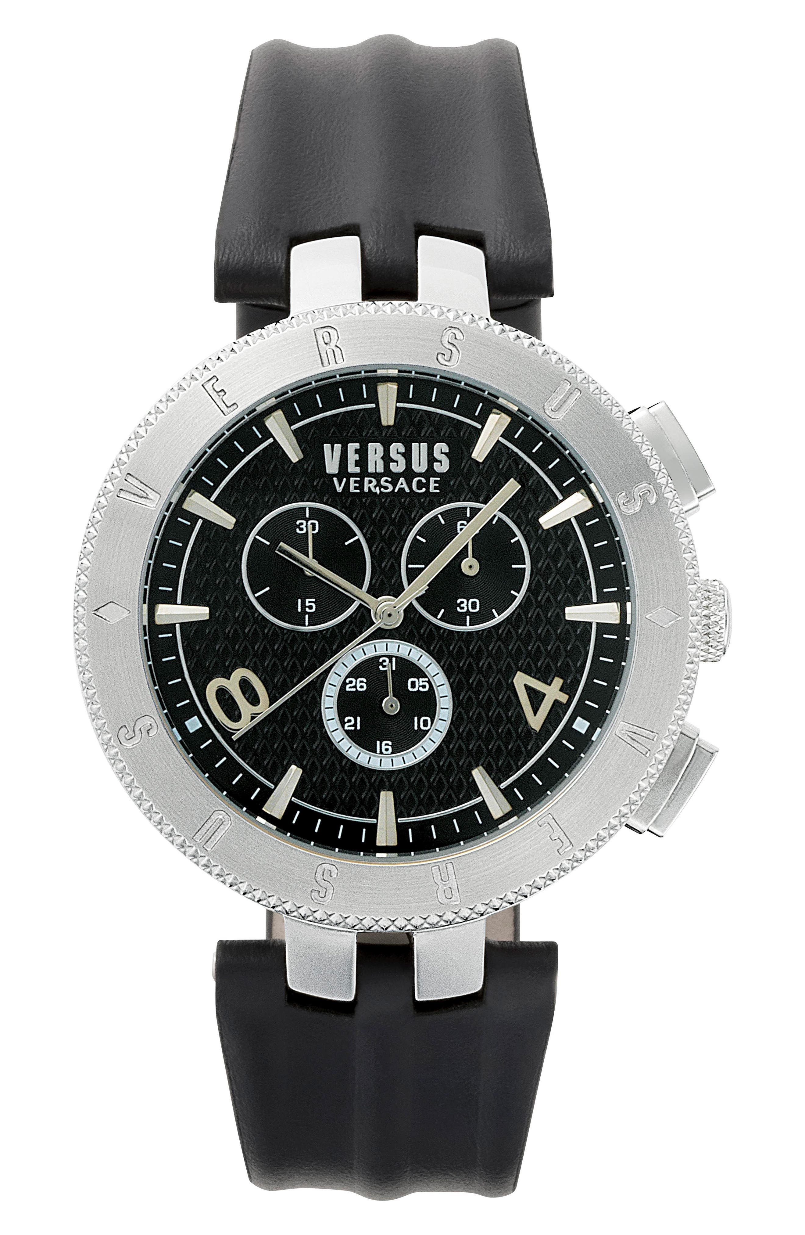 Versus by Versace Logo Chronograph Leather Strap Watch, 44mm,                             Main thumbnail 1, color,                             Black/ Silver