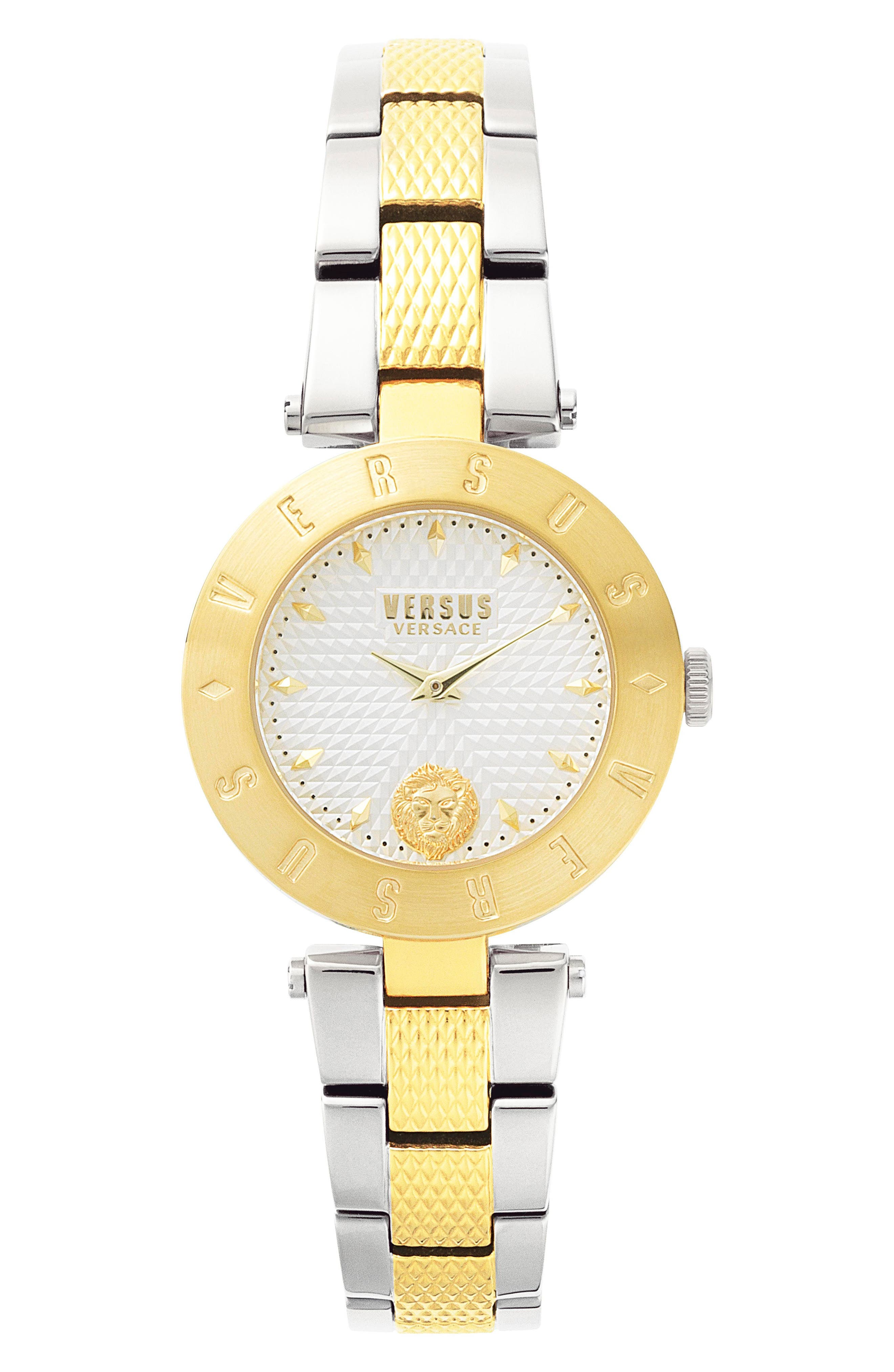 Versus by Versace New Logo Bracelet Watch, 34mm,                         Main,                         color, Silver/ Gold