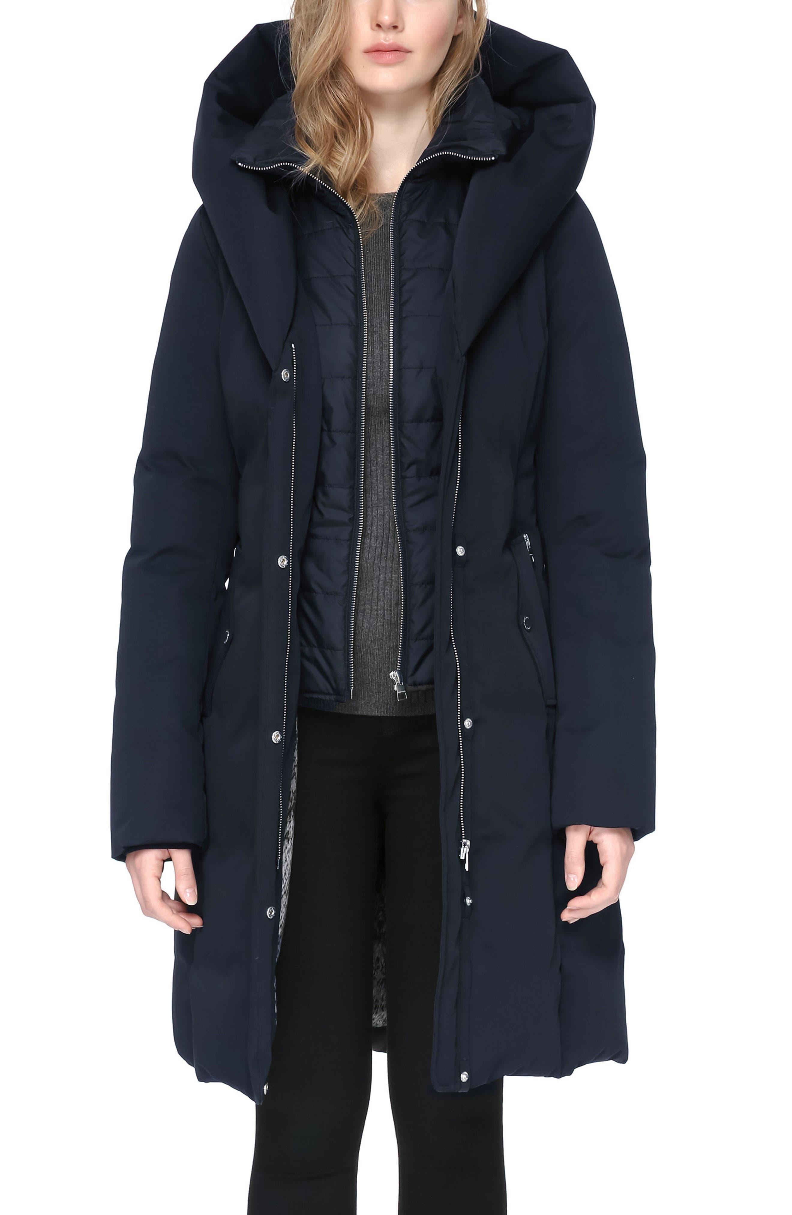 Hooded Down Coat,                         Main,                         color, Indigo