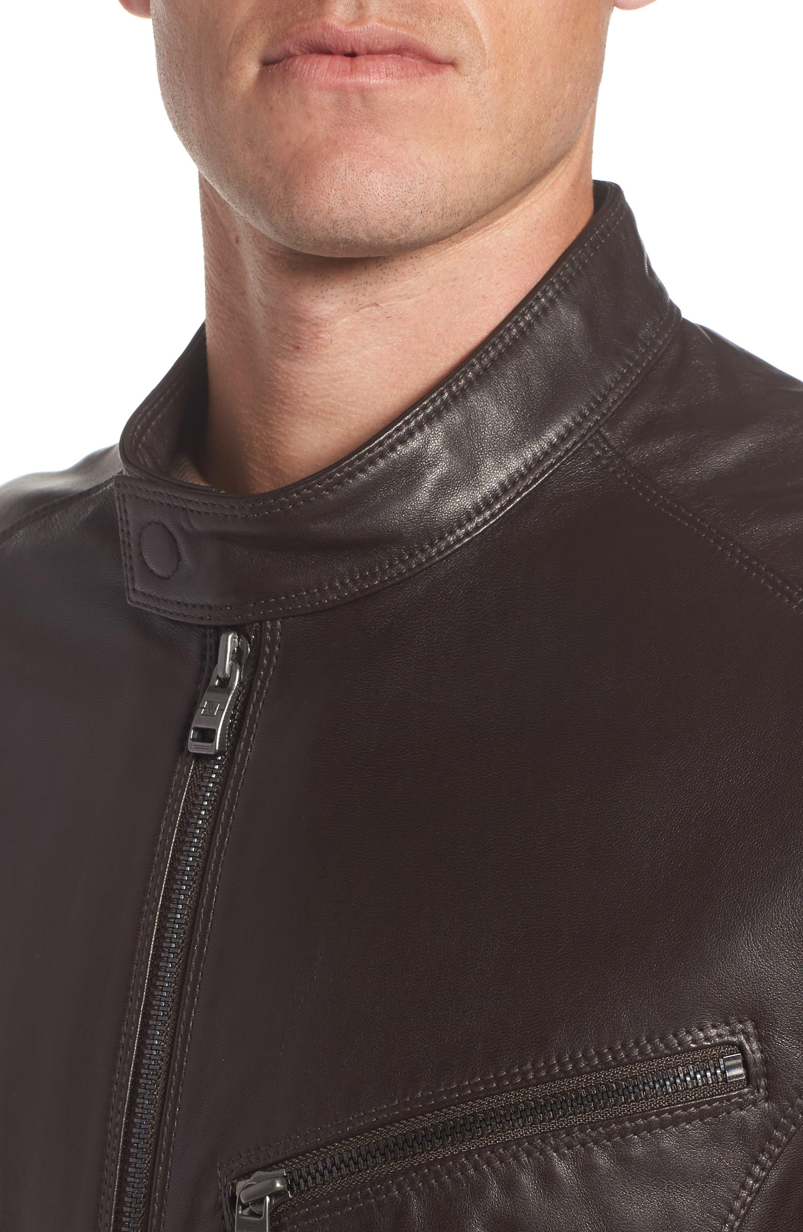 Alternate Image 4  - Andrew Marc Gibson Slim Leather Moto Jacket
