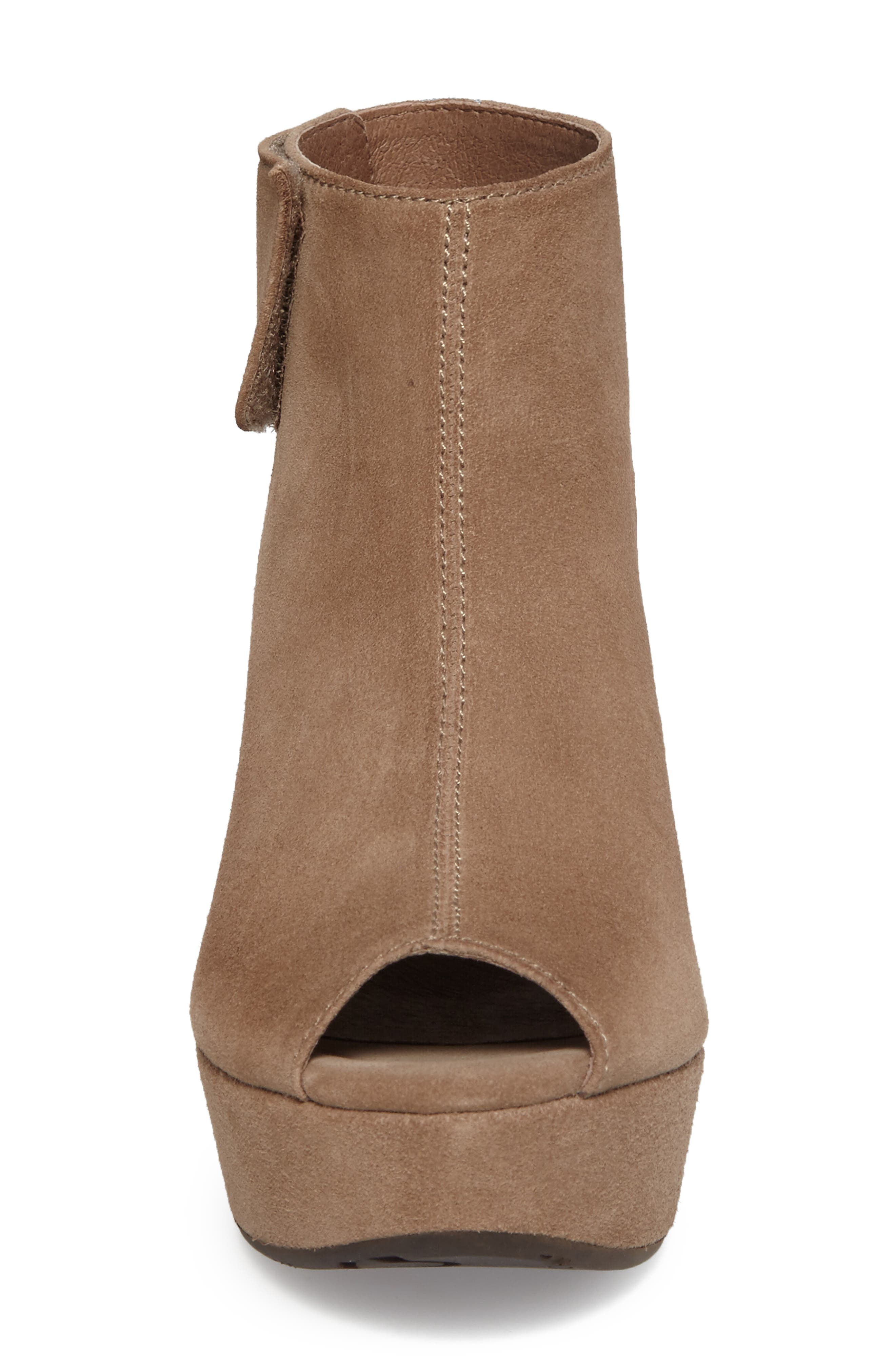Cutout Wedge Sandal,                             Alternate thumbnail 4, color,                             Taupe Suede