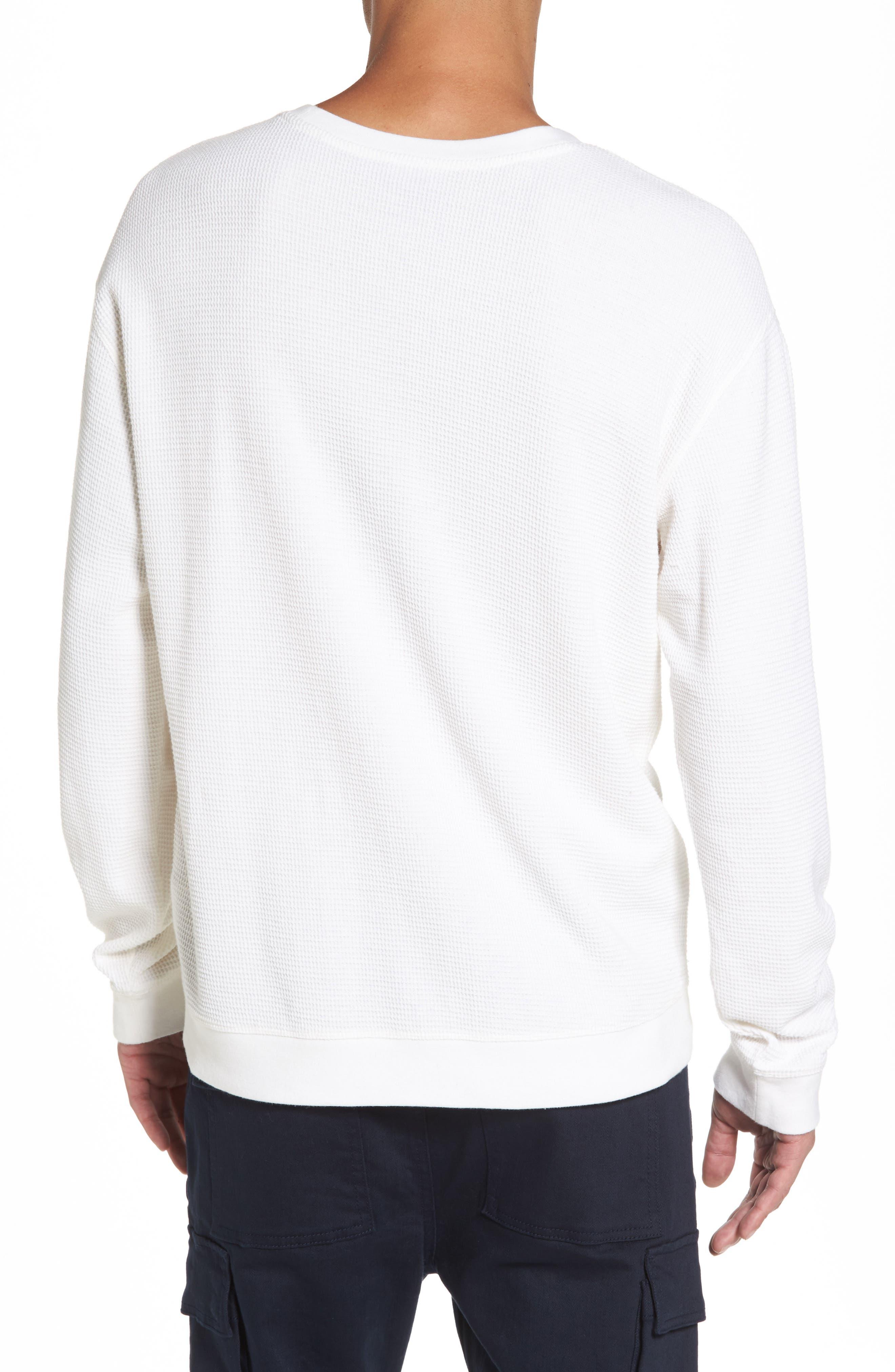 Waffle Knit Sweatshirt,                             Alternate thumbnail 2, color,                             White