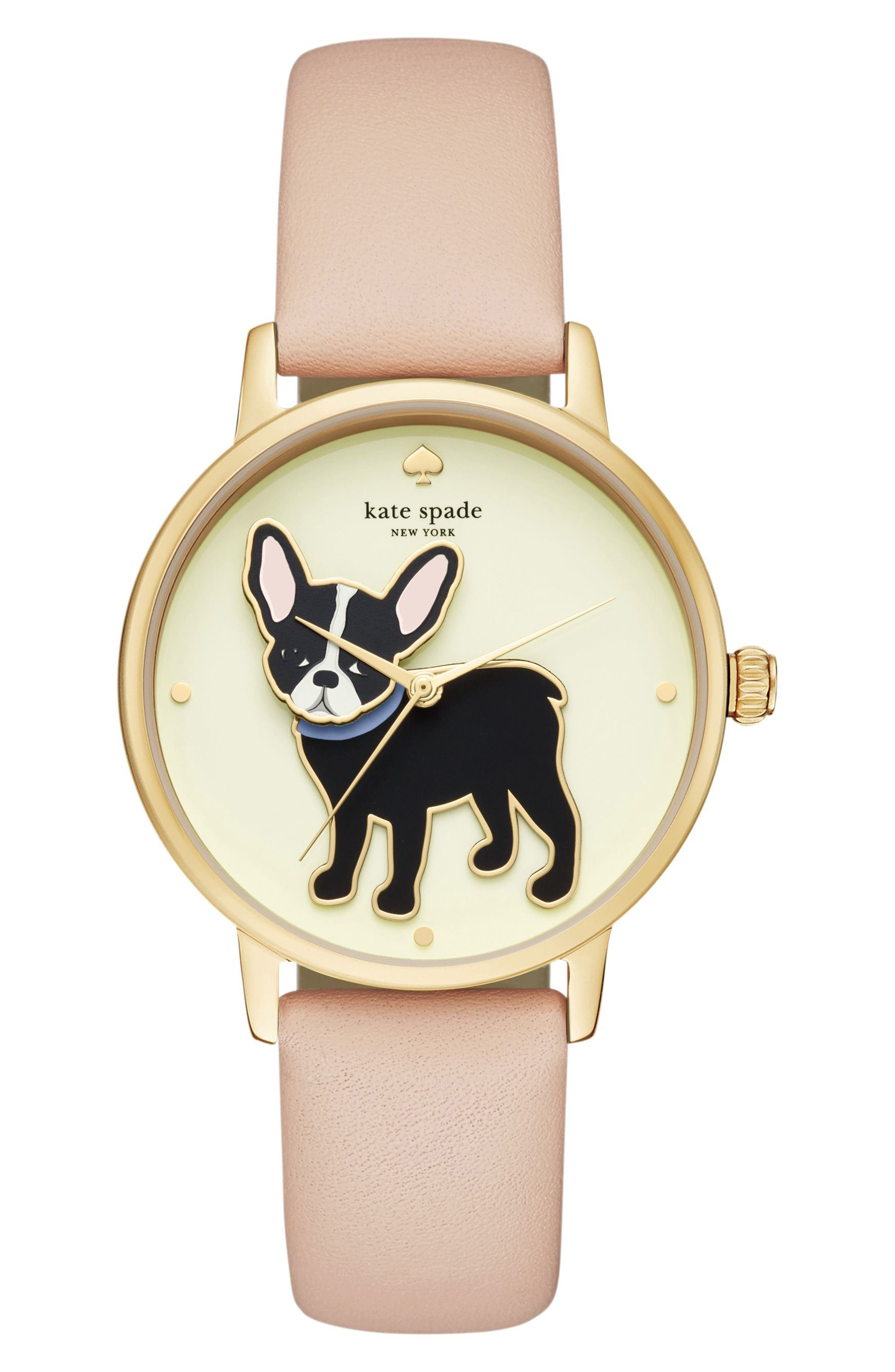 grand metro antoine leather strap watch, 38mm,                         Main,                         color, Nude/ Cream/ Gold