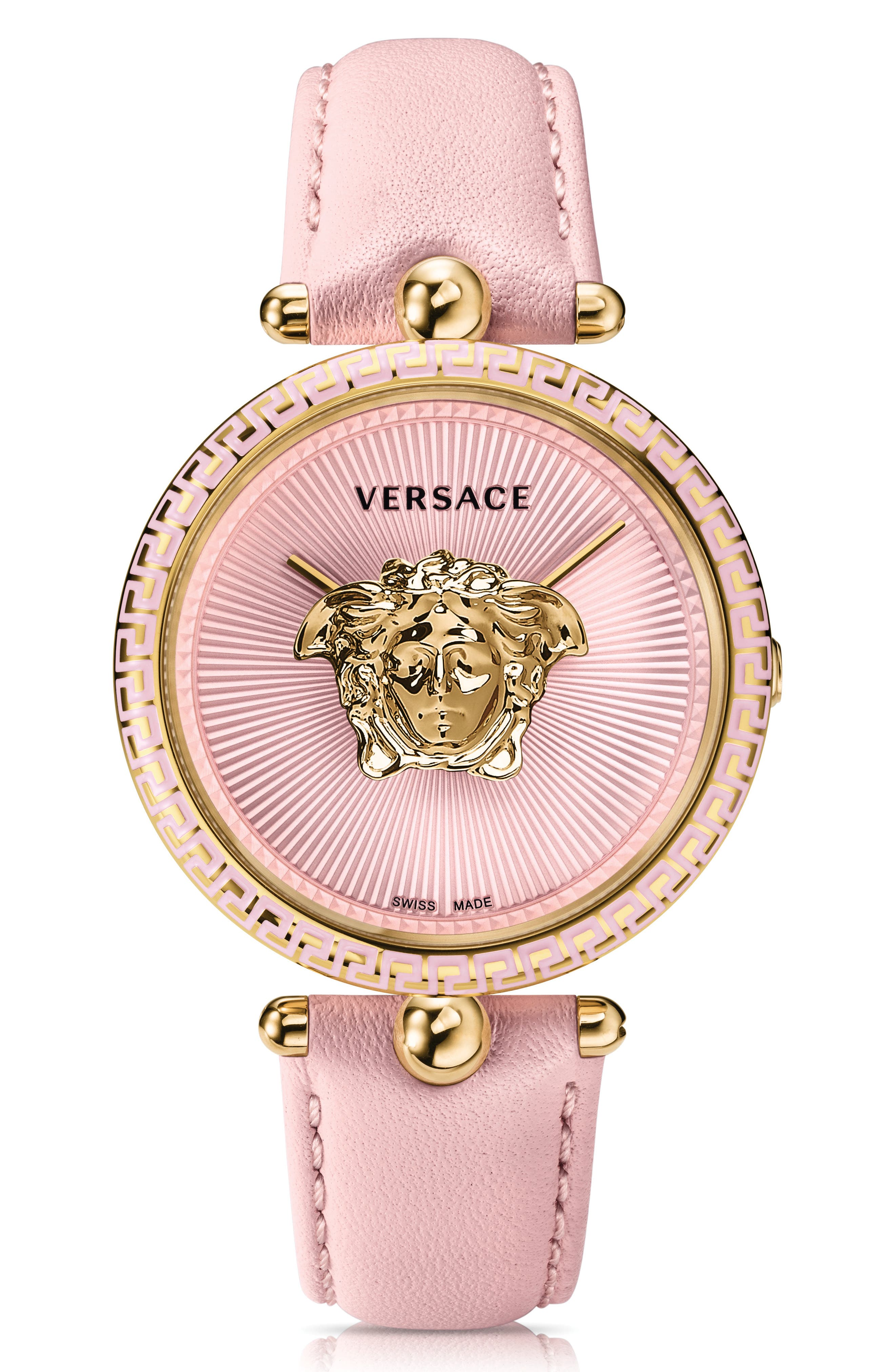Palazzo Empire Leather Strap Watch, 39mm,                         Main,                         color, Pink/ Gold