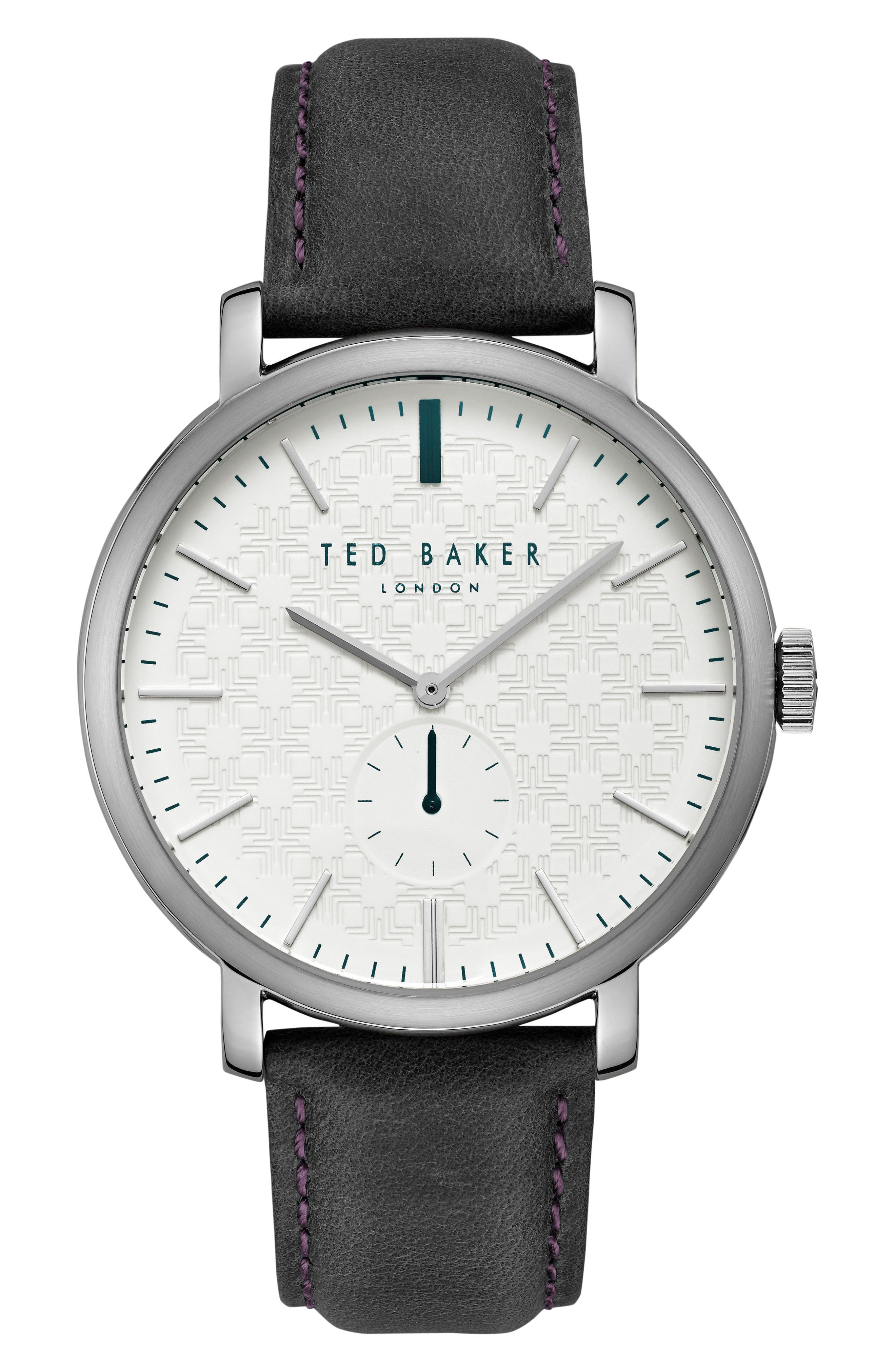Alternate Image 1 Selected - Ted Baker London Trent Leather Strap Watch, 44mm