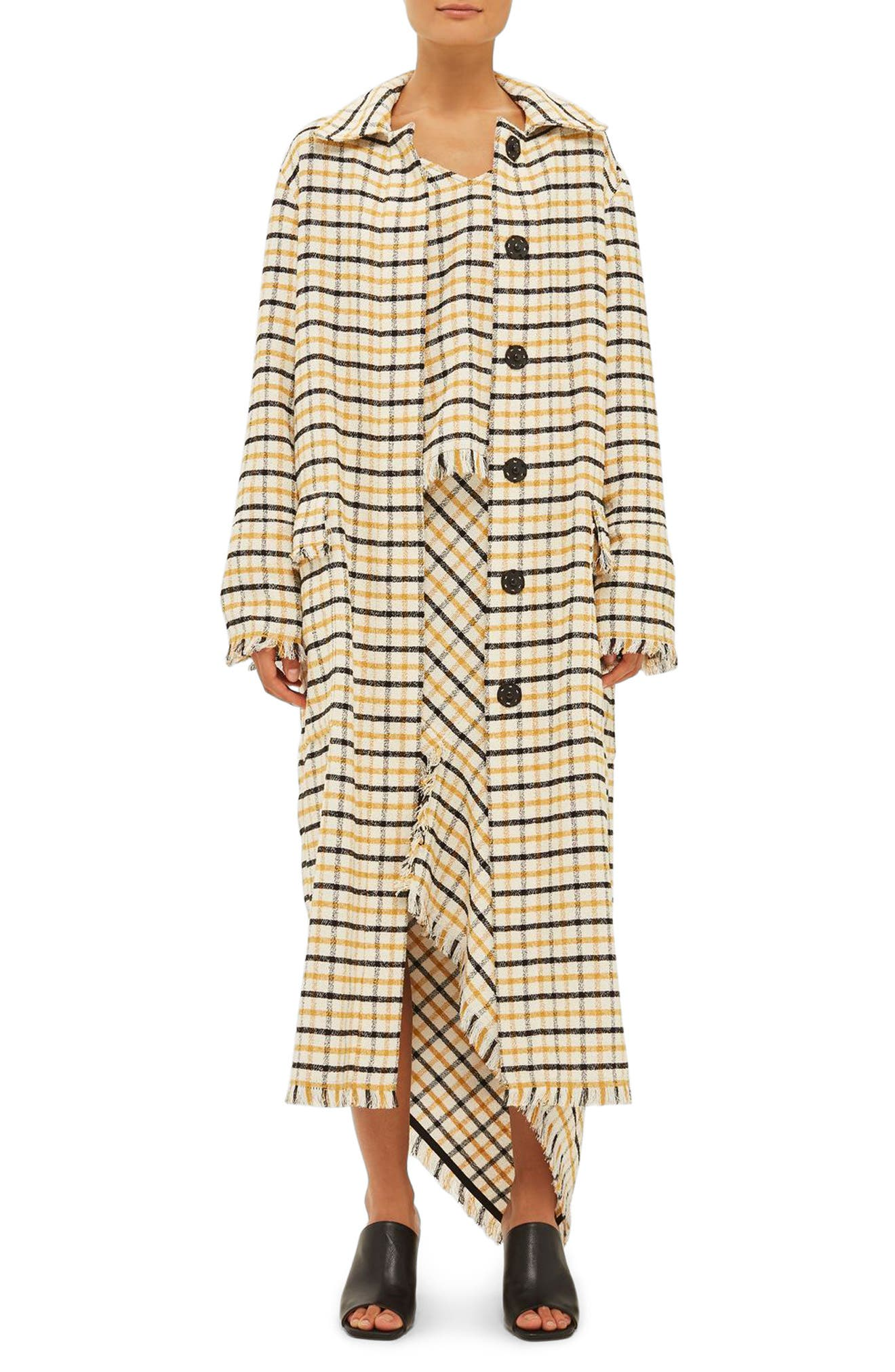 Topshop Boutique Gingham Duster Coat